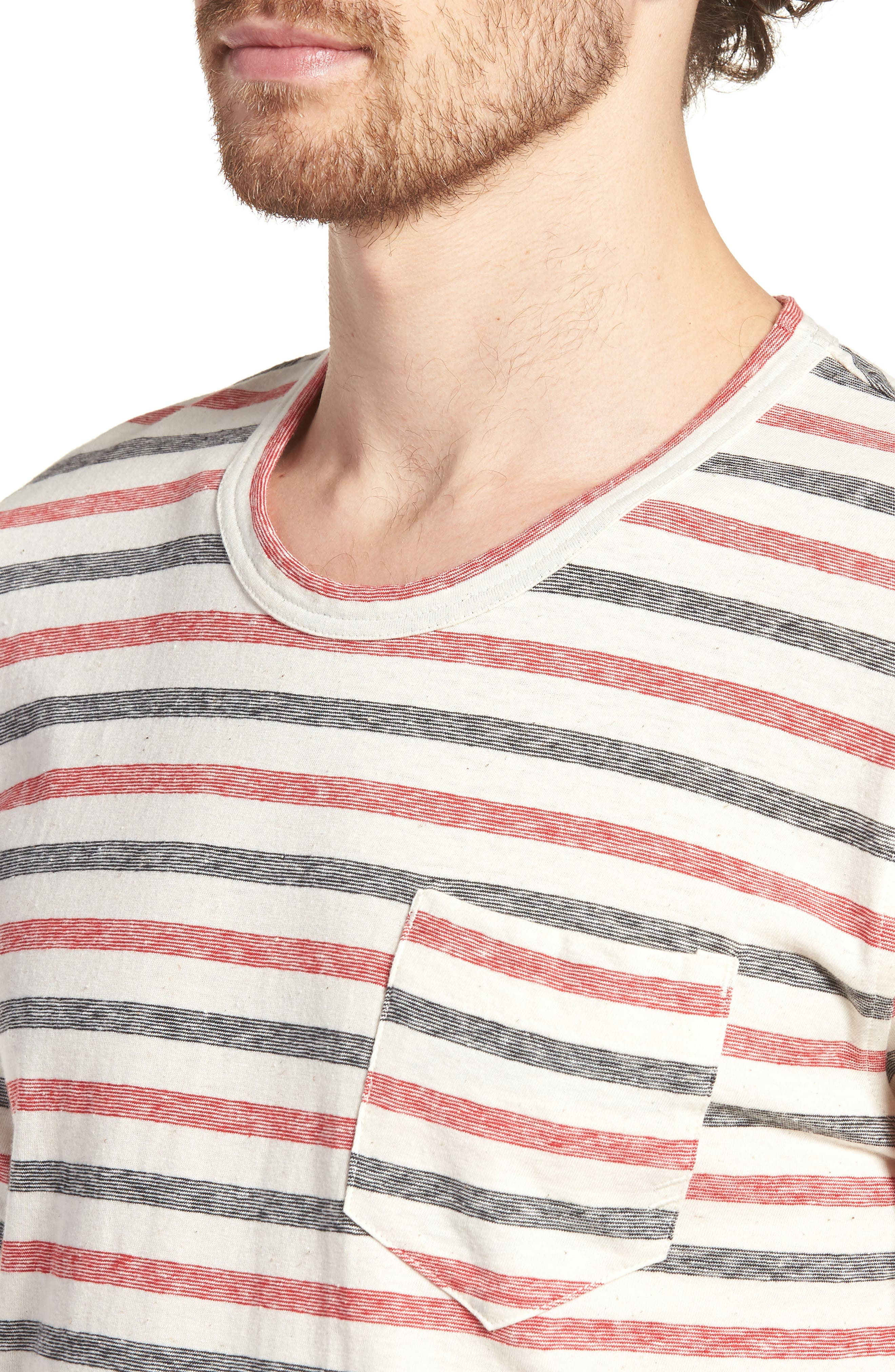 Striped T-Shirt,                             Alternate thumbnail 4, color,                             Red