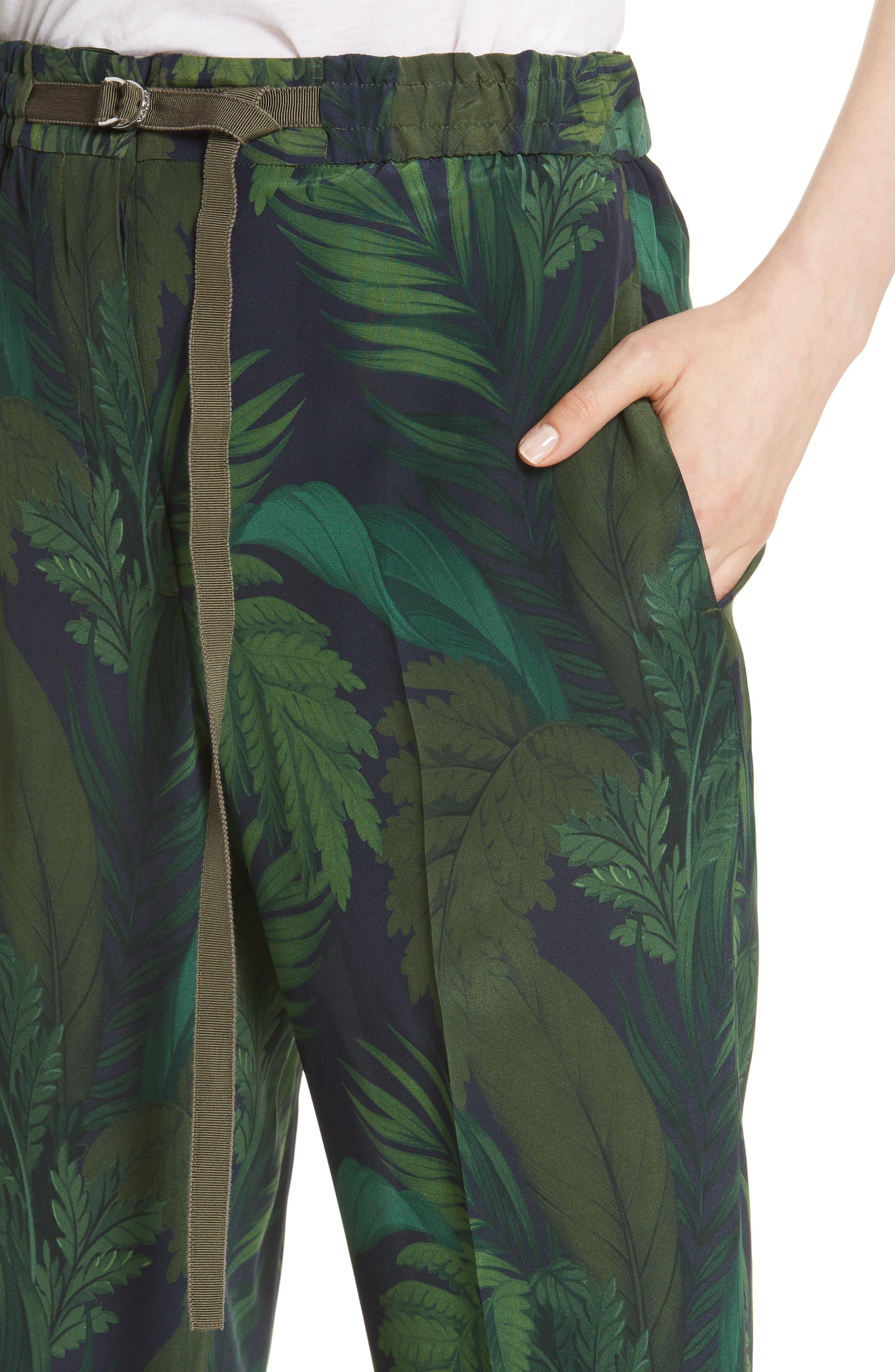 Palm Print Crop Silk Pants,                             Alternate thumbnail 4, color,                             Navy/ Green