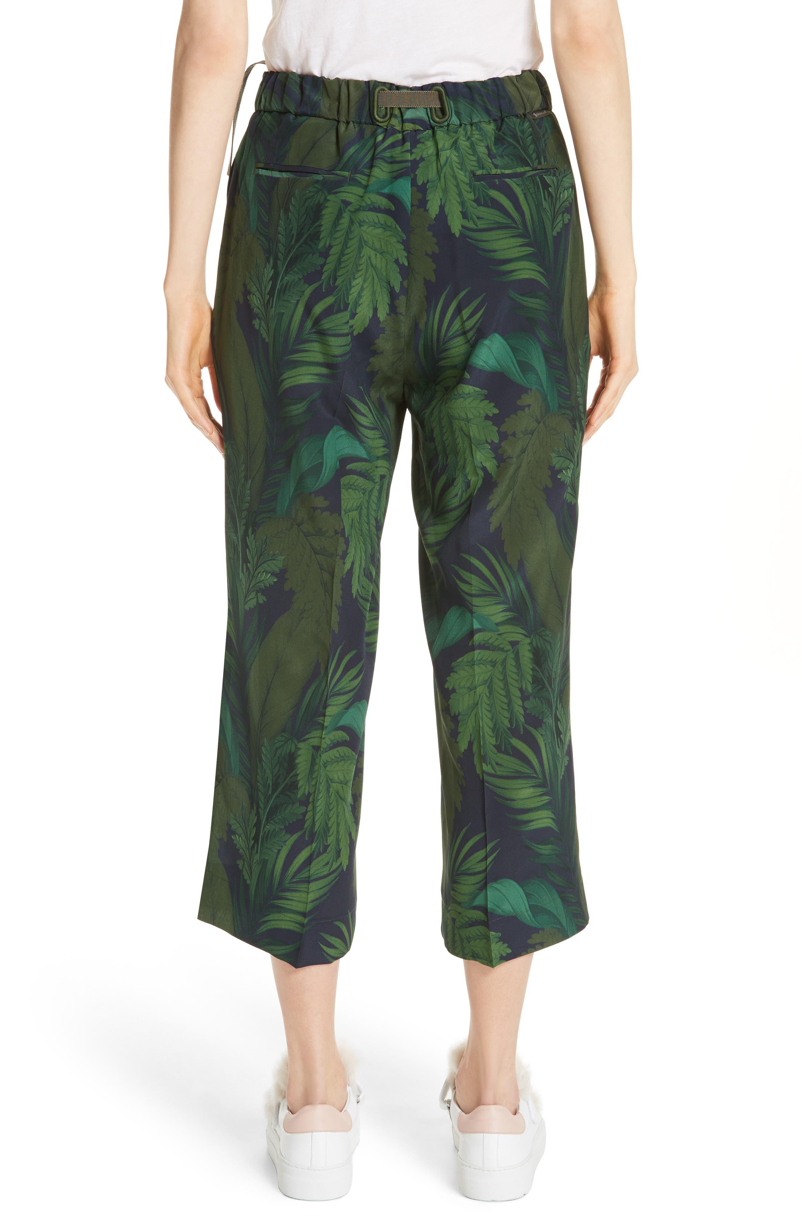 Palm Print Crop Silk Pants,                             Alternate thumbnail 2, color,                             Navy/ Green