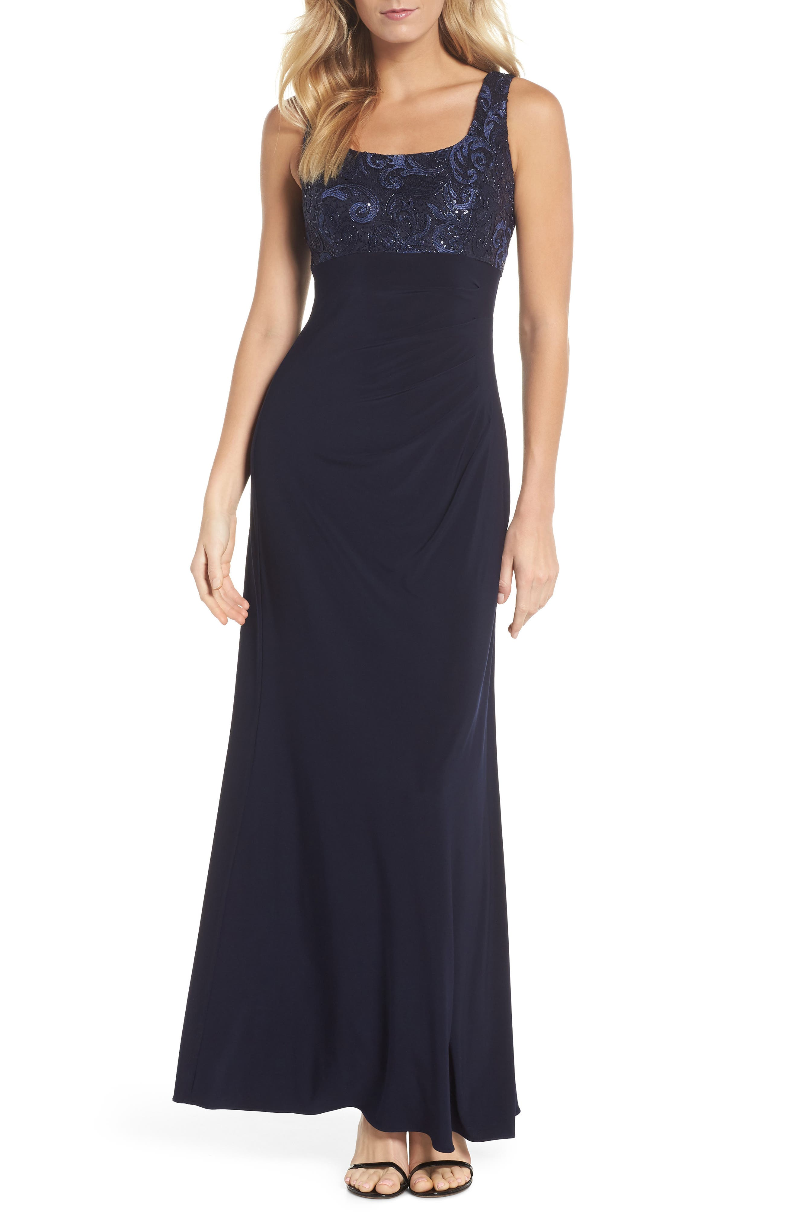 Sequin Embellished Gown with Bolero Jacket,                             Alternate thumbnail 2, color,                             Navy