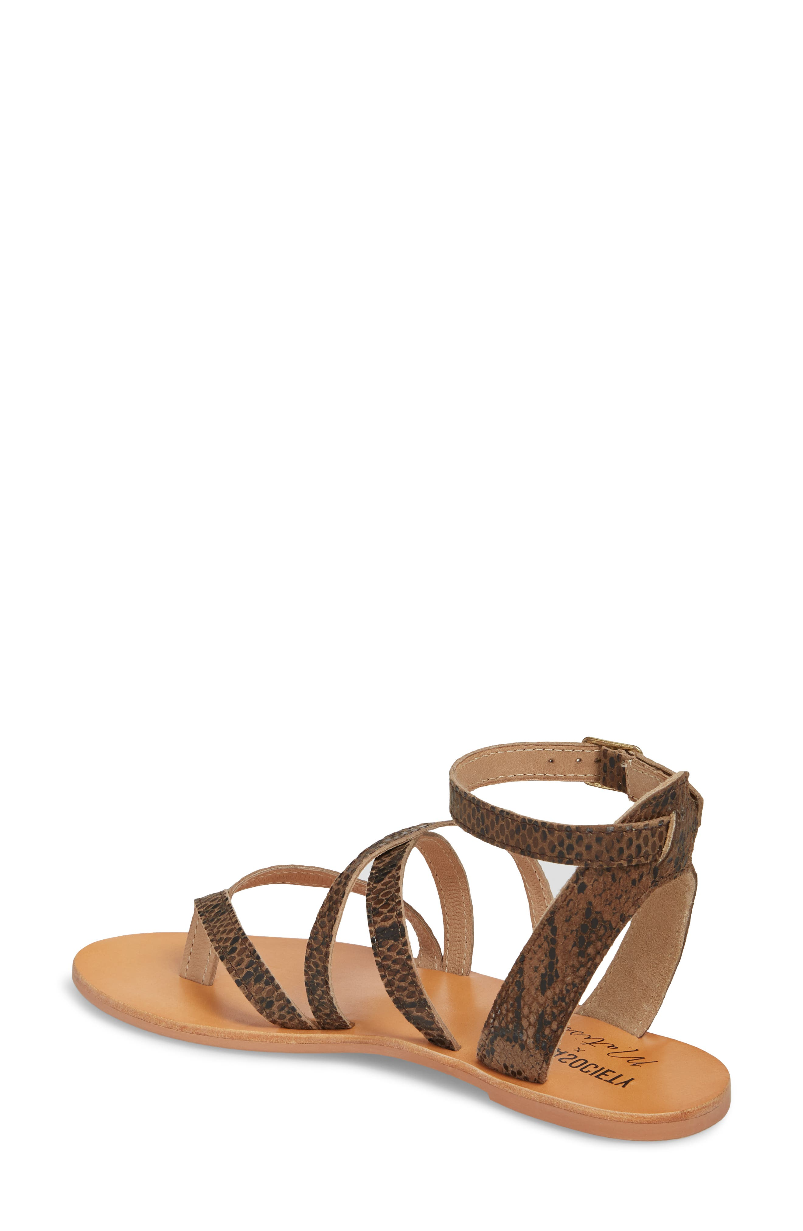 Strappy Sandal,                             Alternate thumbnail 2, color,                             Brown Snake Leather