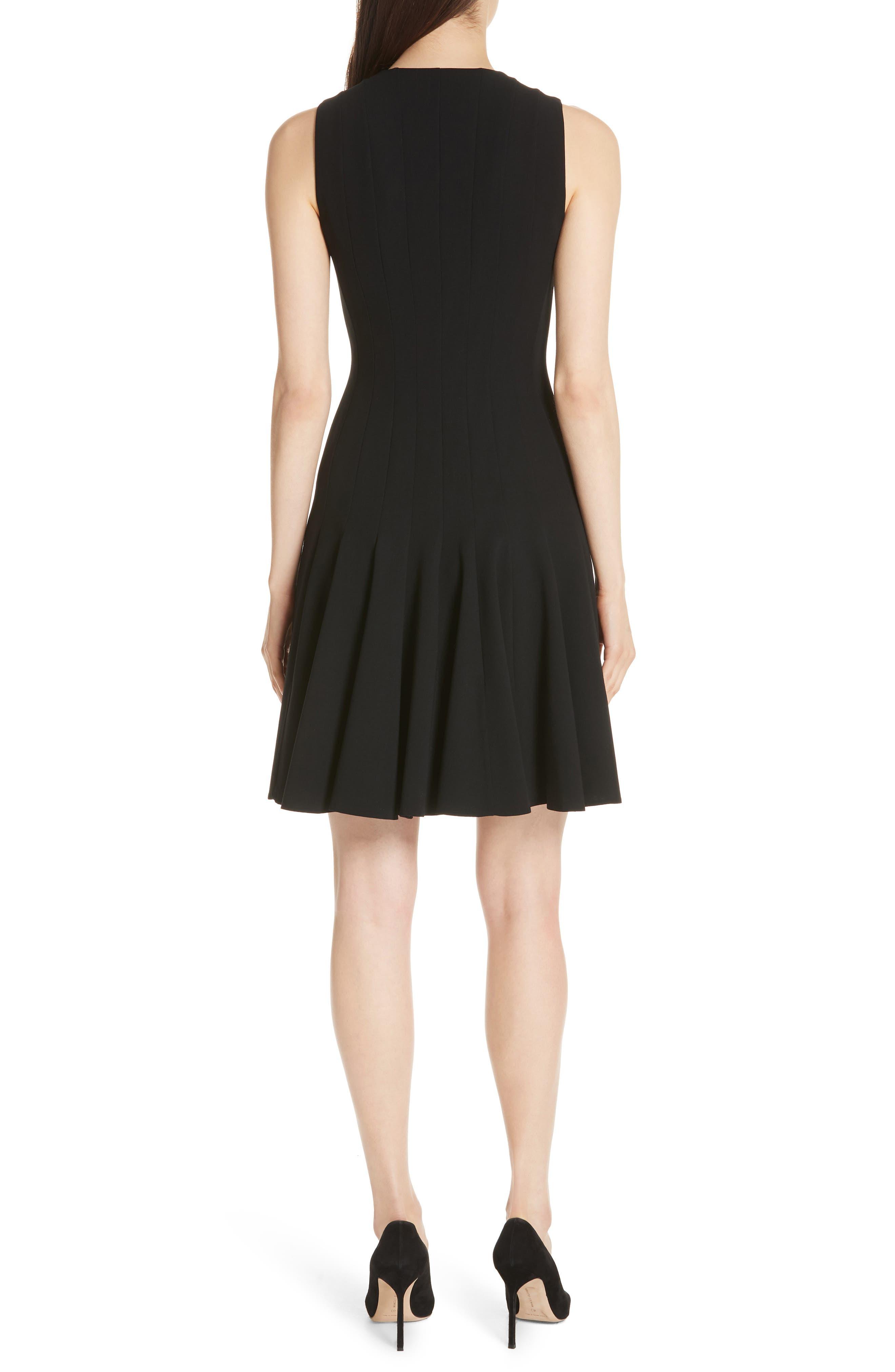 Sleeveless Godet Pleat Dress,                             Alternate thumbnail 2, color,                             Black