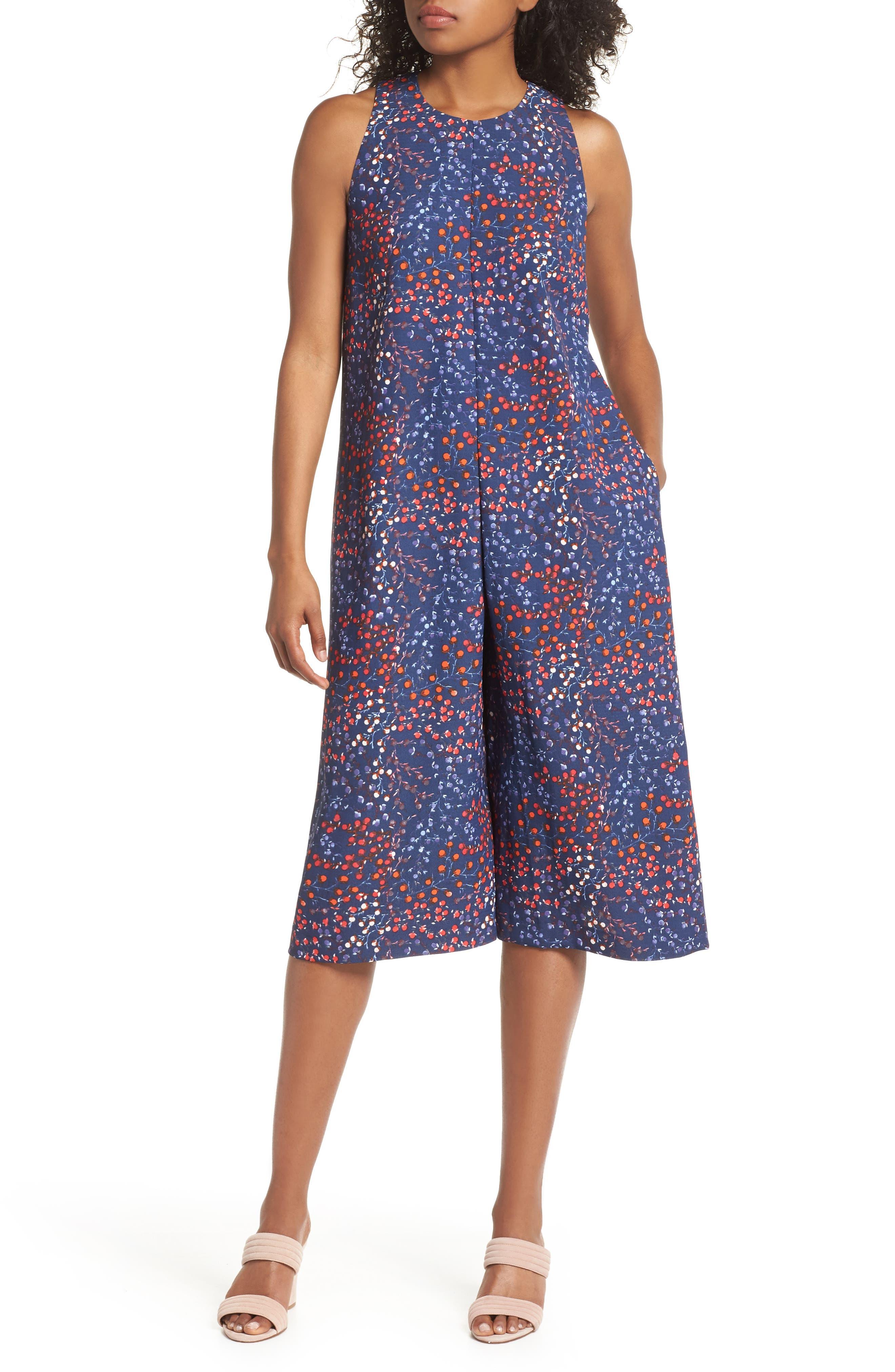 Frances Drape Wide Leg Crop Jumpsuit,                         Main,                         color, Russian Blue Multi