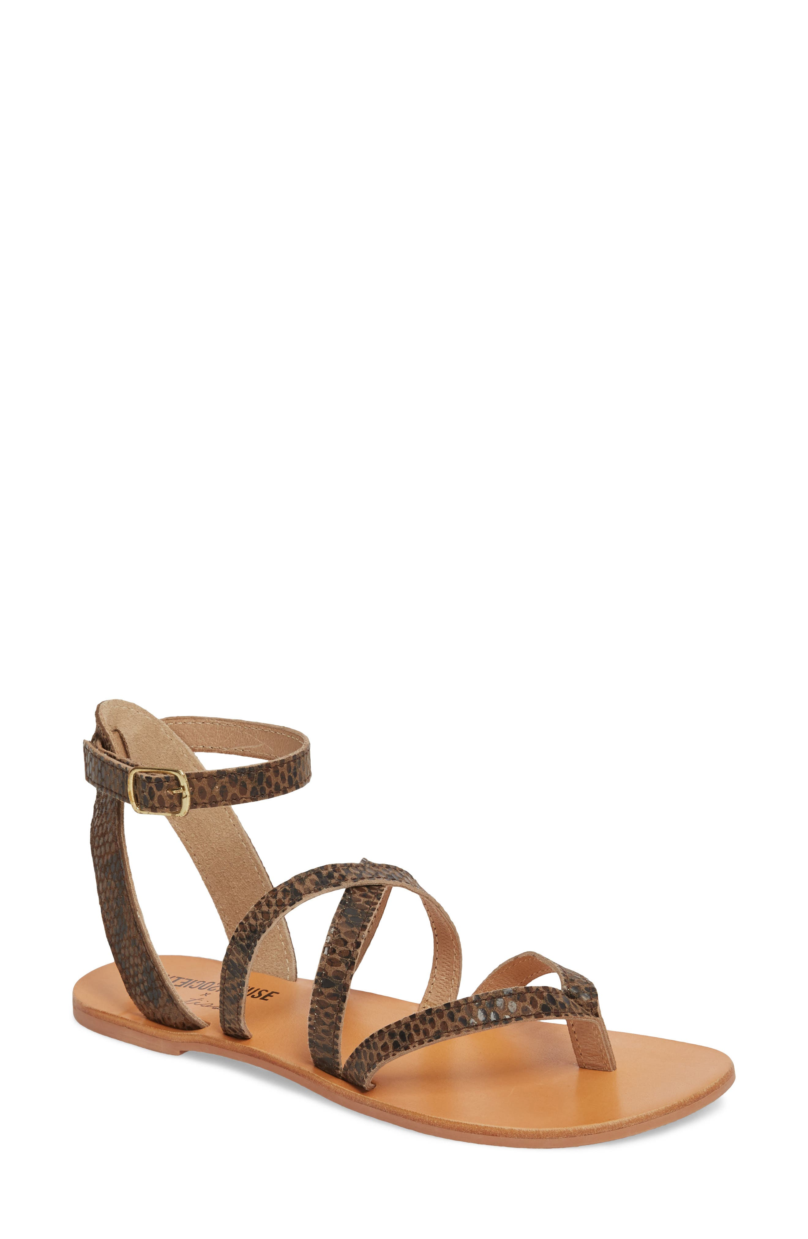 Strappy Sandal,                             Main thumbnail 1, color,                             Brown Snake Leather