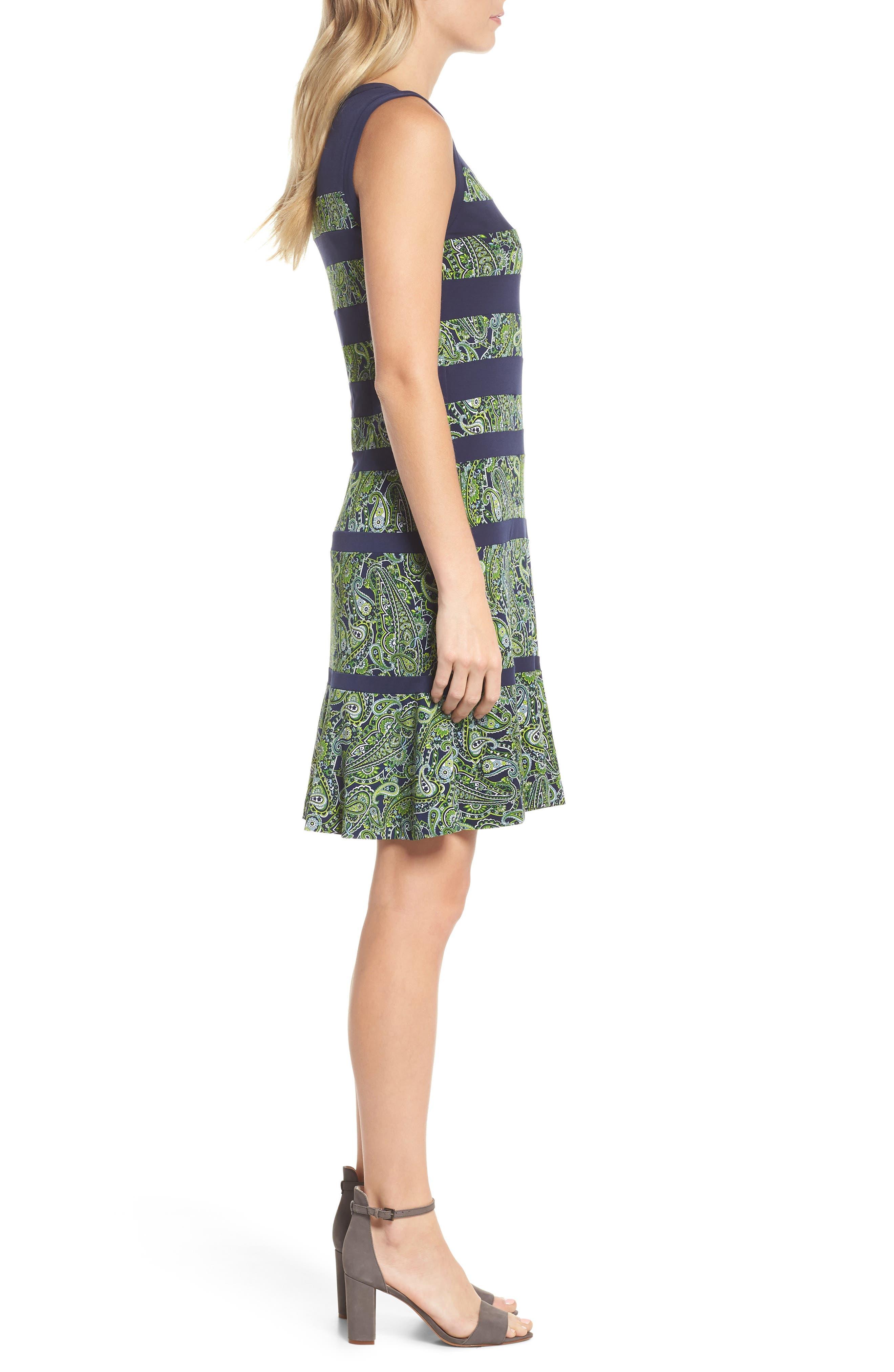 Paisley Paneled Dress,                             Alternate thumbnail 3, color,                             True Navy/ Green Apple Mu