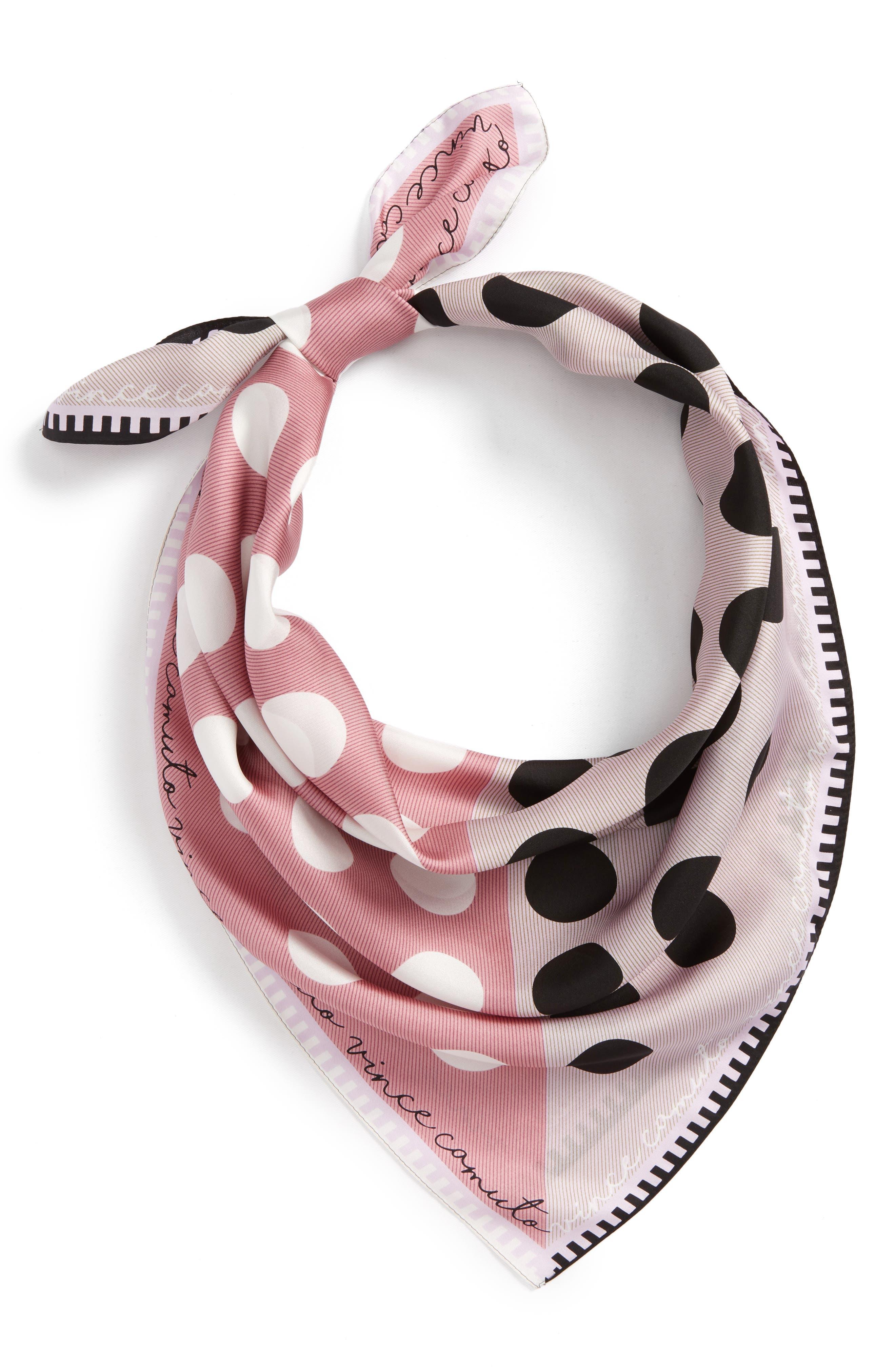 Polka Stripe Square Silk Scarf,                         Main,                         color, Lilac Black