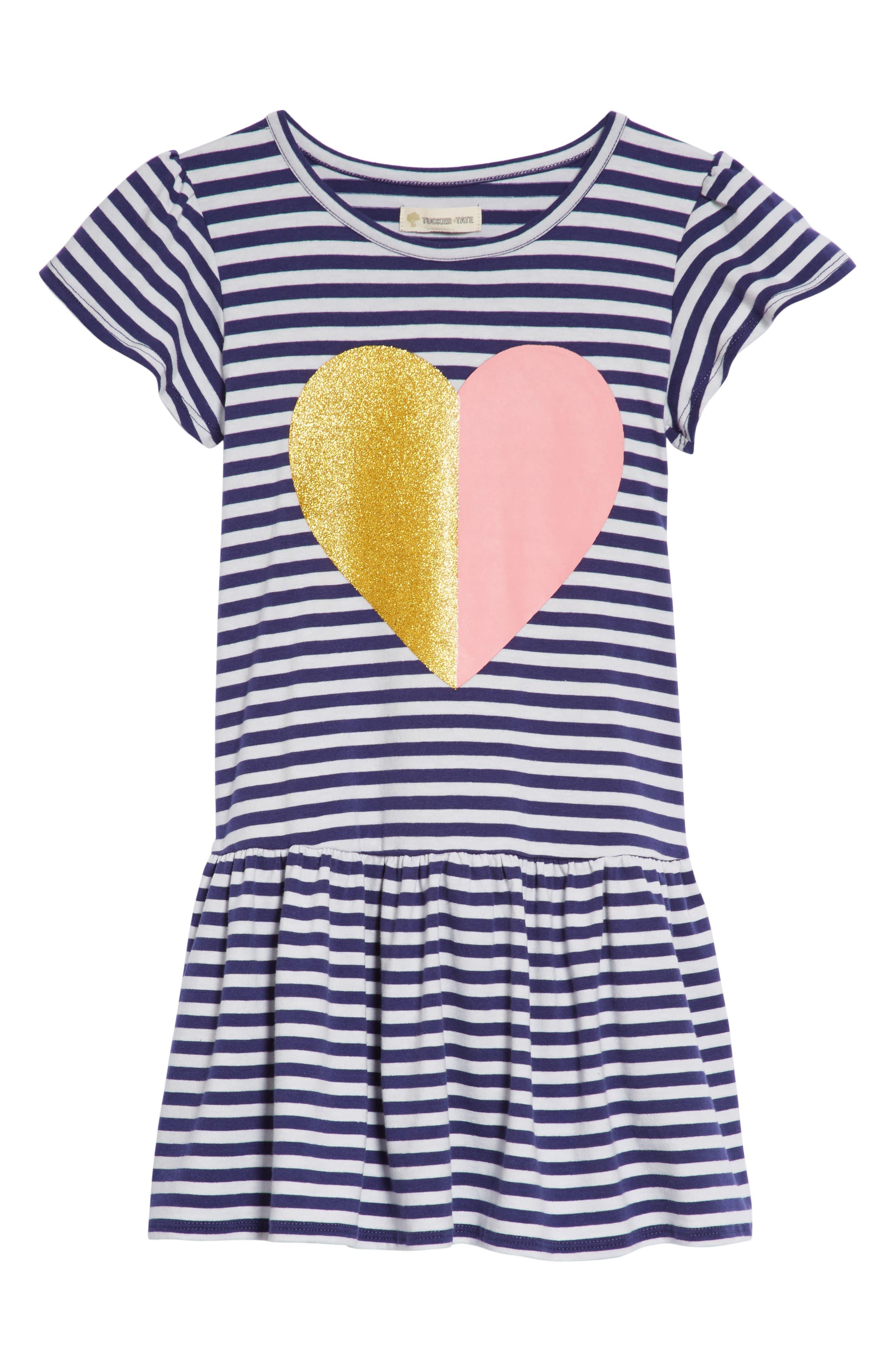 Graphic Stripe Dress,                             Main thumbnail 1, color,                             Navy Ribbon Sparkle Heart