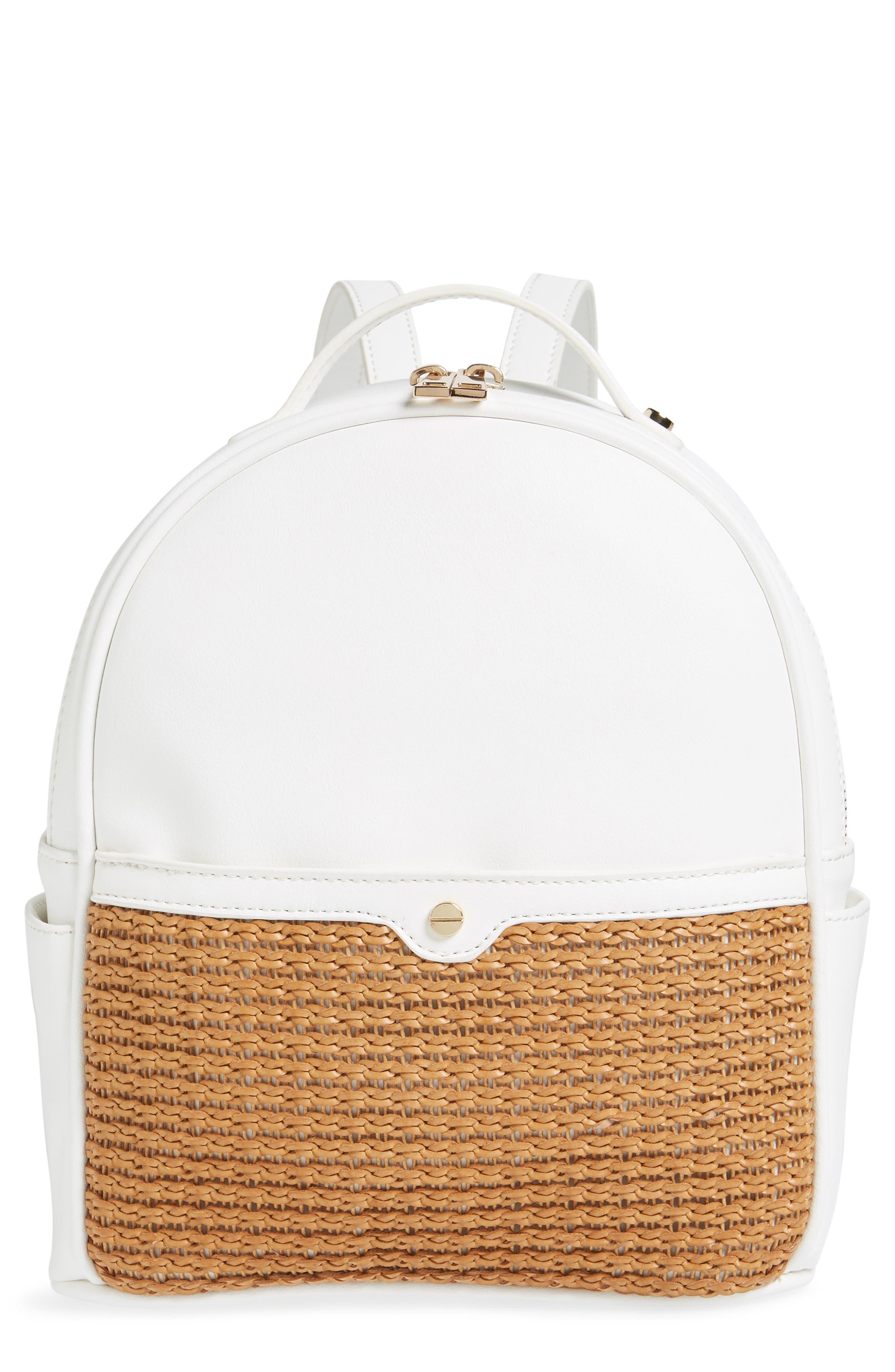 Mali + Lili Harper Lili Basket Weave Backpack,                         Main,                         color, White