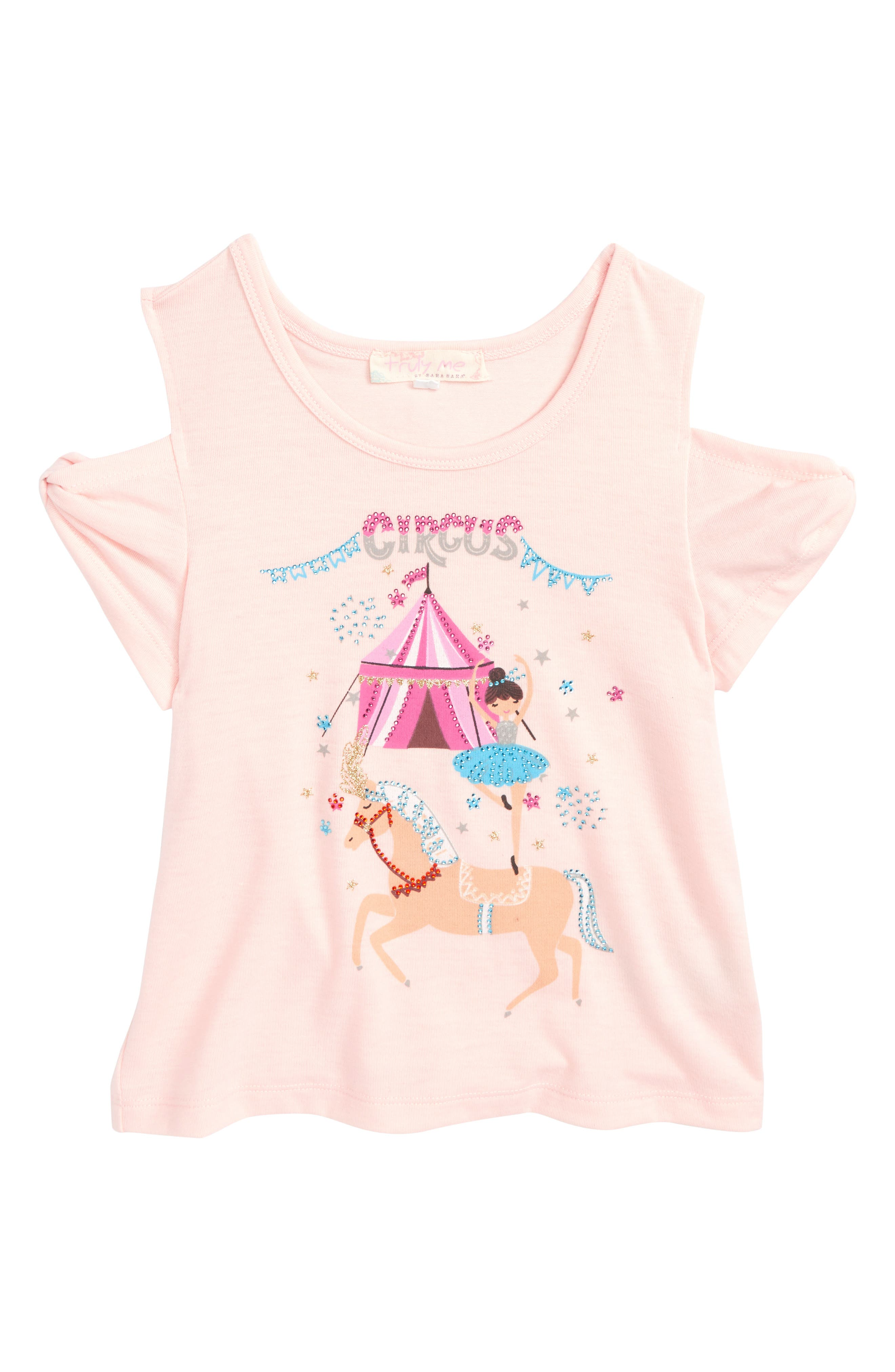 Truly Me Circus Graphic Cold Shoulder Tee (Toddler Girls & Little Girls)