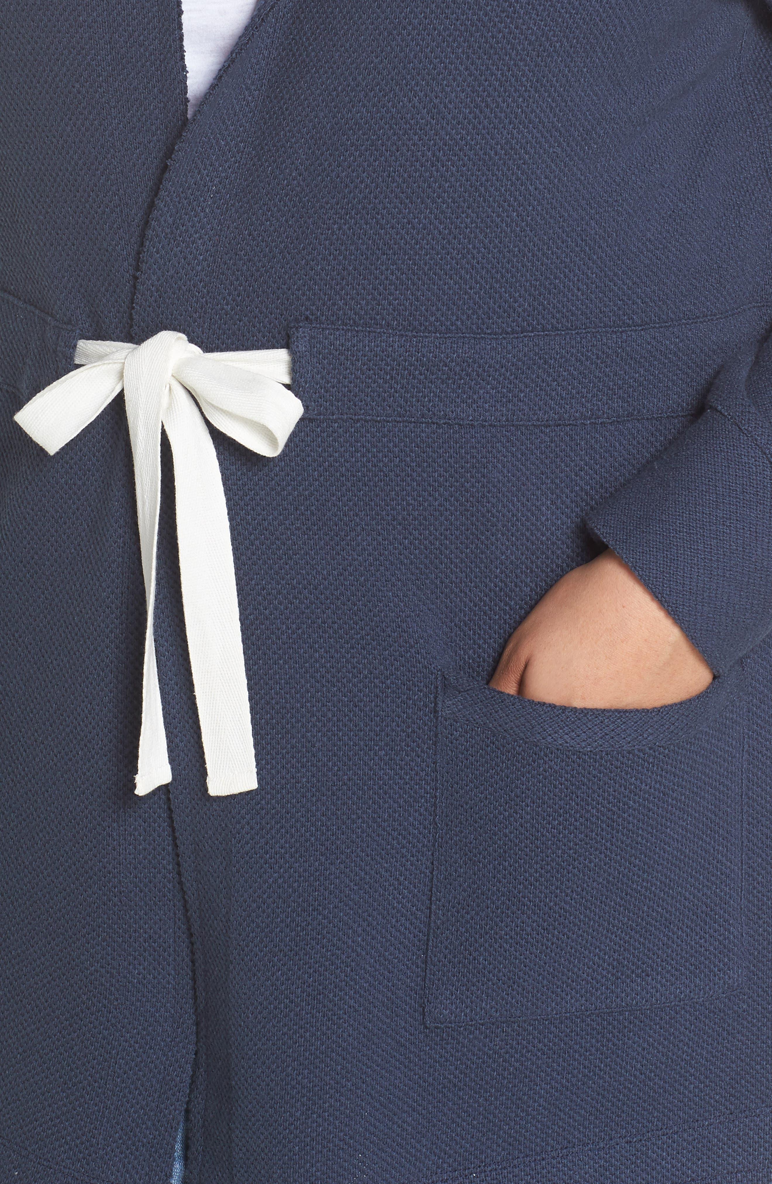 Tie Waist Knit Hooded Jacket,                             Alternate thumbnail 4, color,                             Navy Indigo