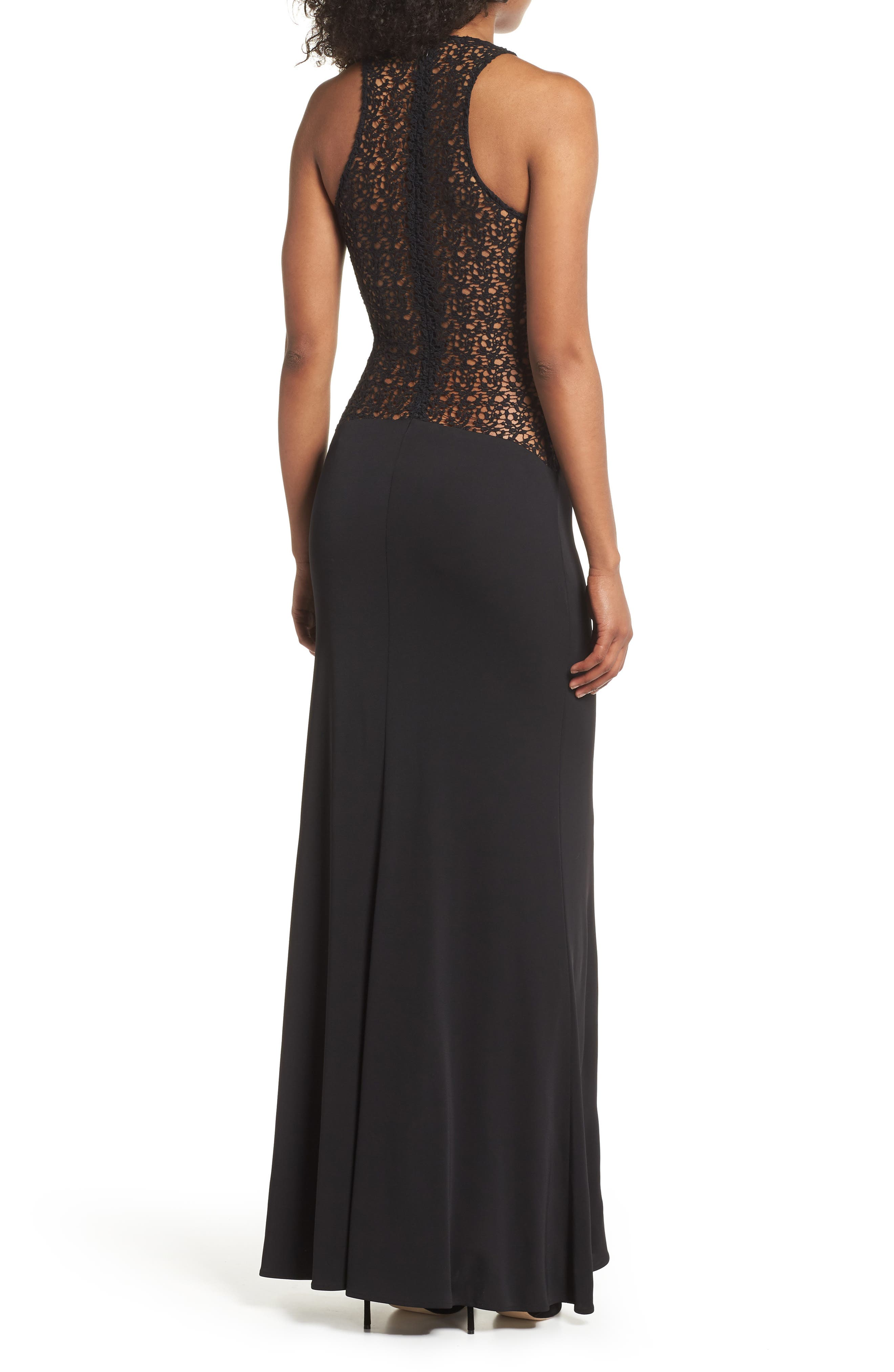 Riley Lace Inset Gown,                             Alternate thumbnail 2, color,                             Black