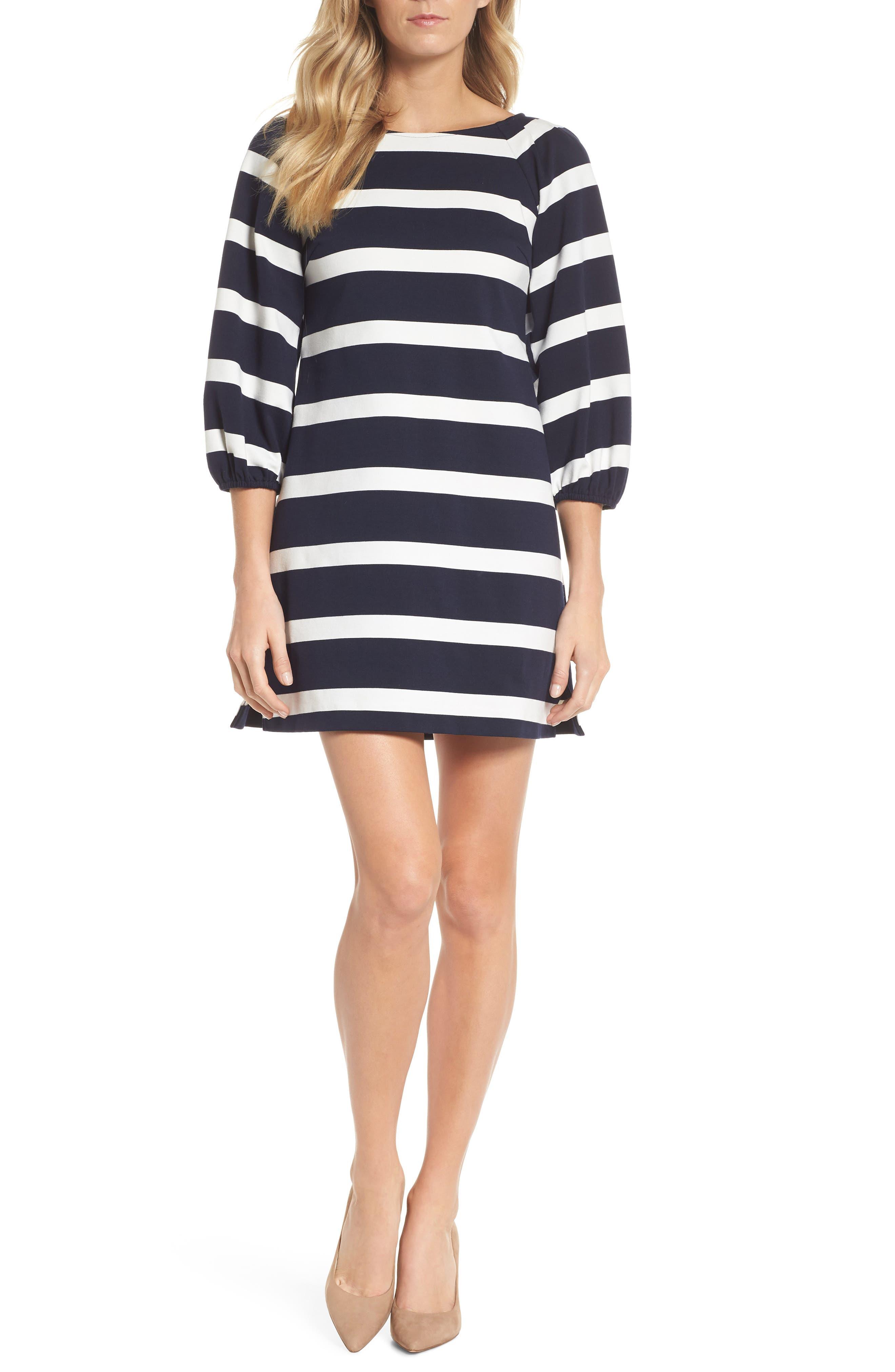 Stripe Balloon Sleeve Shift Dress,                             Main thumbnail 1, color,                             Navy/ Ivory