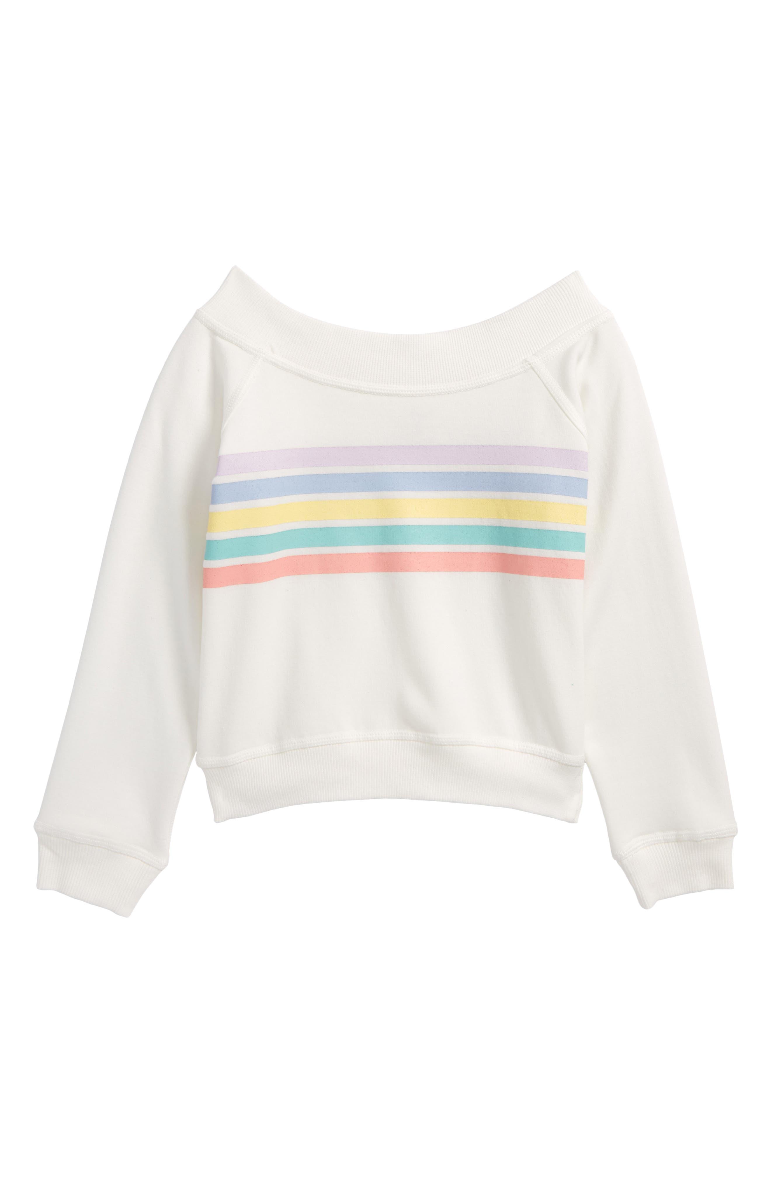 Rainbow Graphic Sweatshirt,                         Main,                         color, Cream