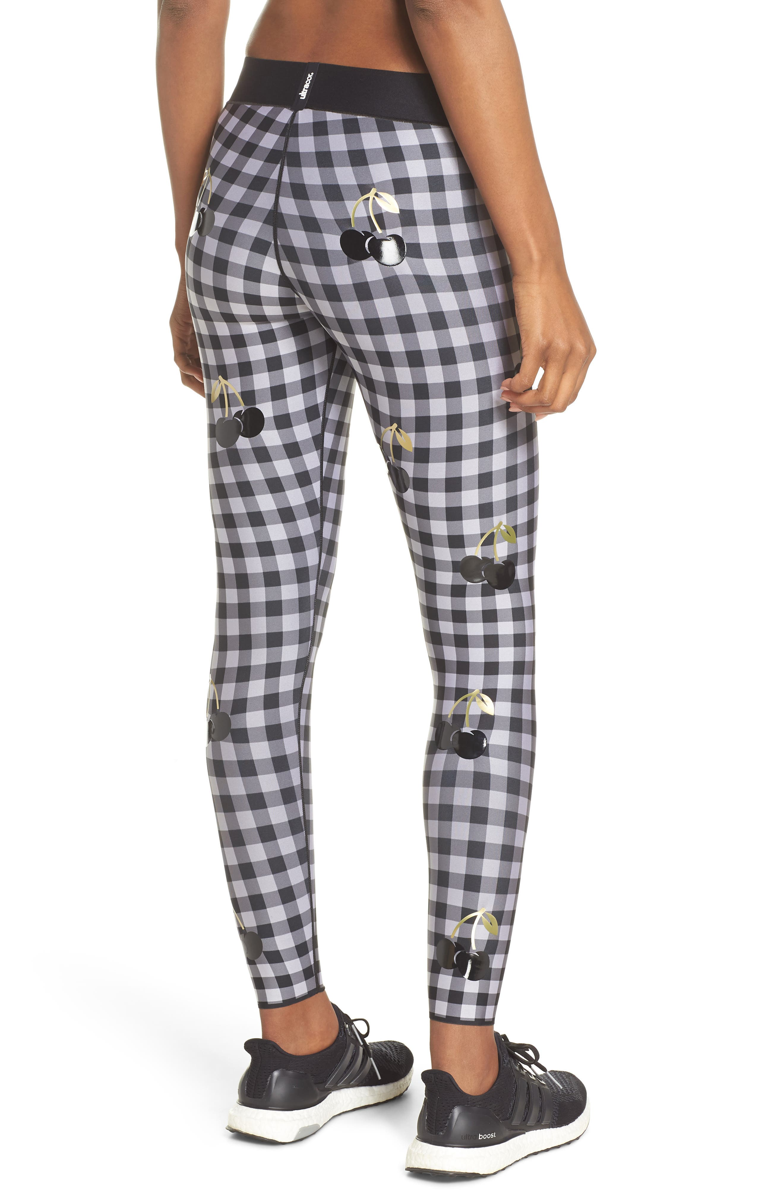Ultra Cherry Check Leggings,                             Alternate thumbnail 2, color,                             Nero/ Patent Nero