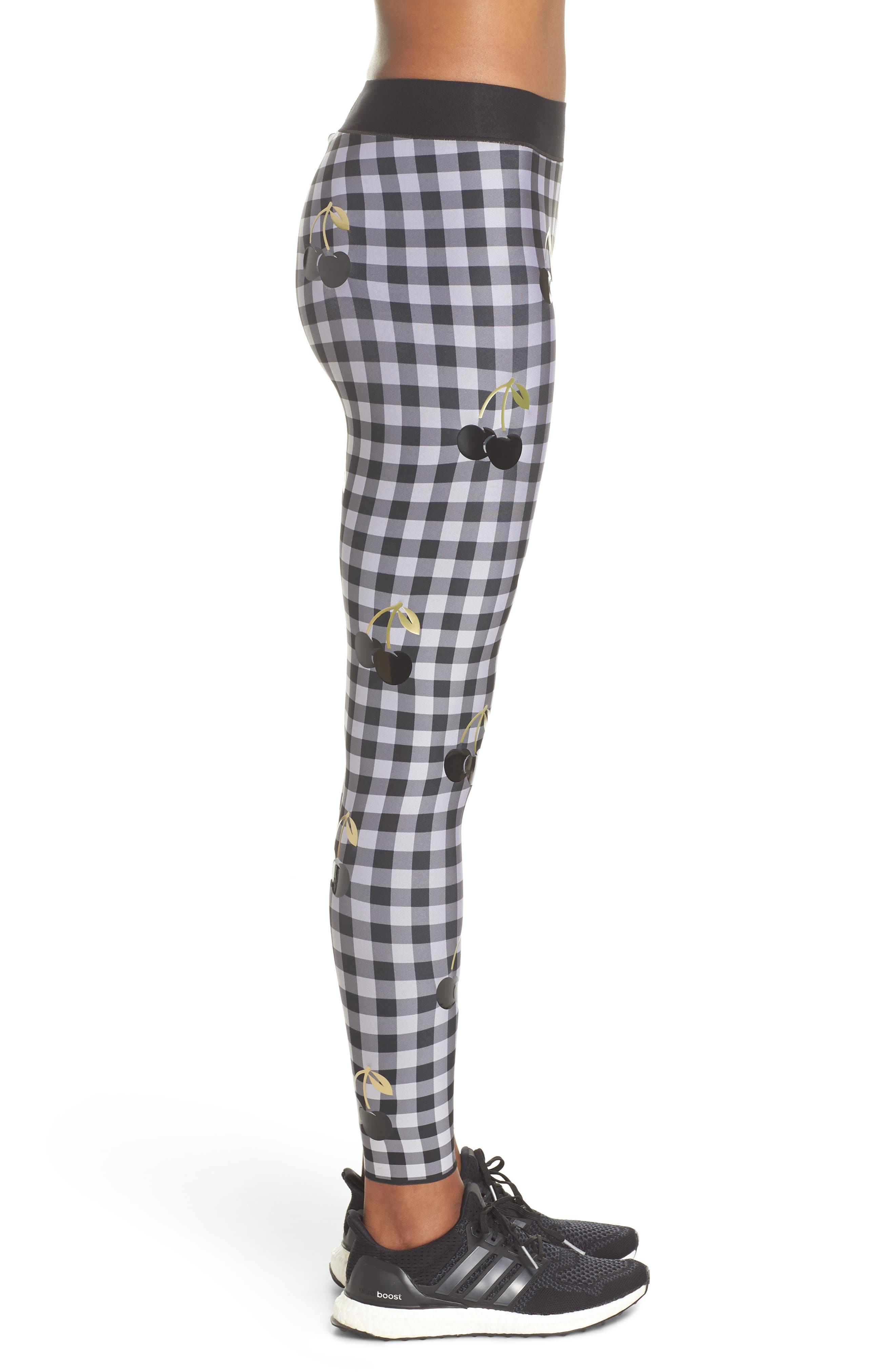 Ultra Cherry Check Leggings,                             Alternate thumbnail 3, color,                             Nero/ Patent Nero