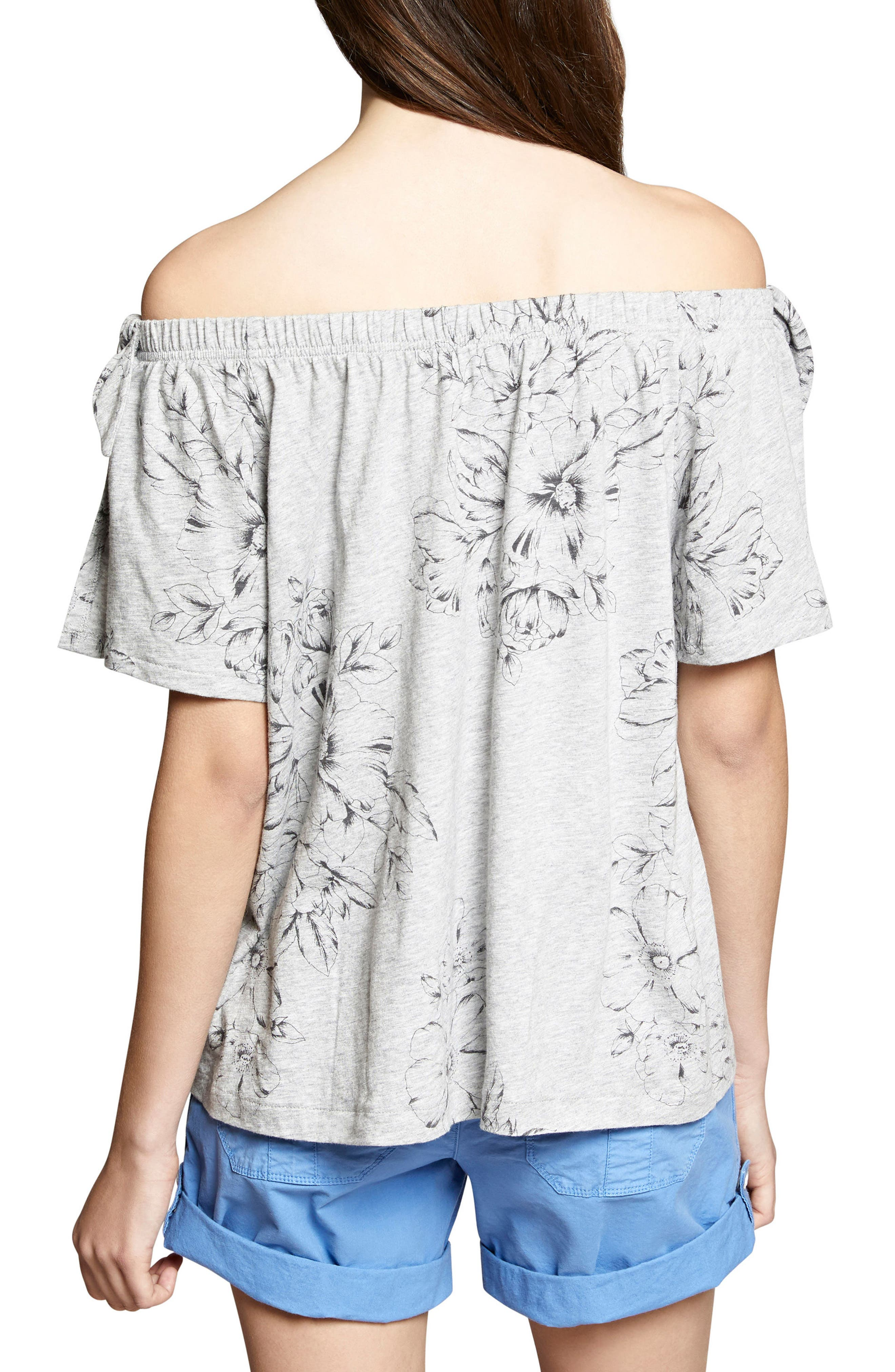Riviera Off the Shoulder Tie Sleeve Top,                             Alternate thumbnail 2, color,                             Hibiscus/ Heather Grey