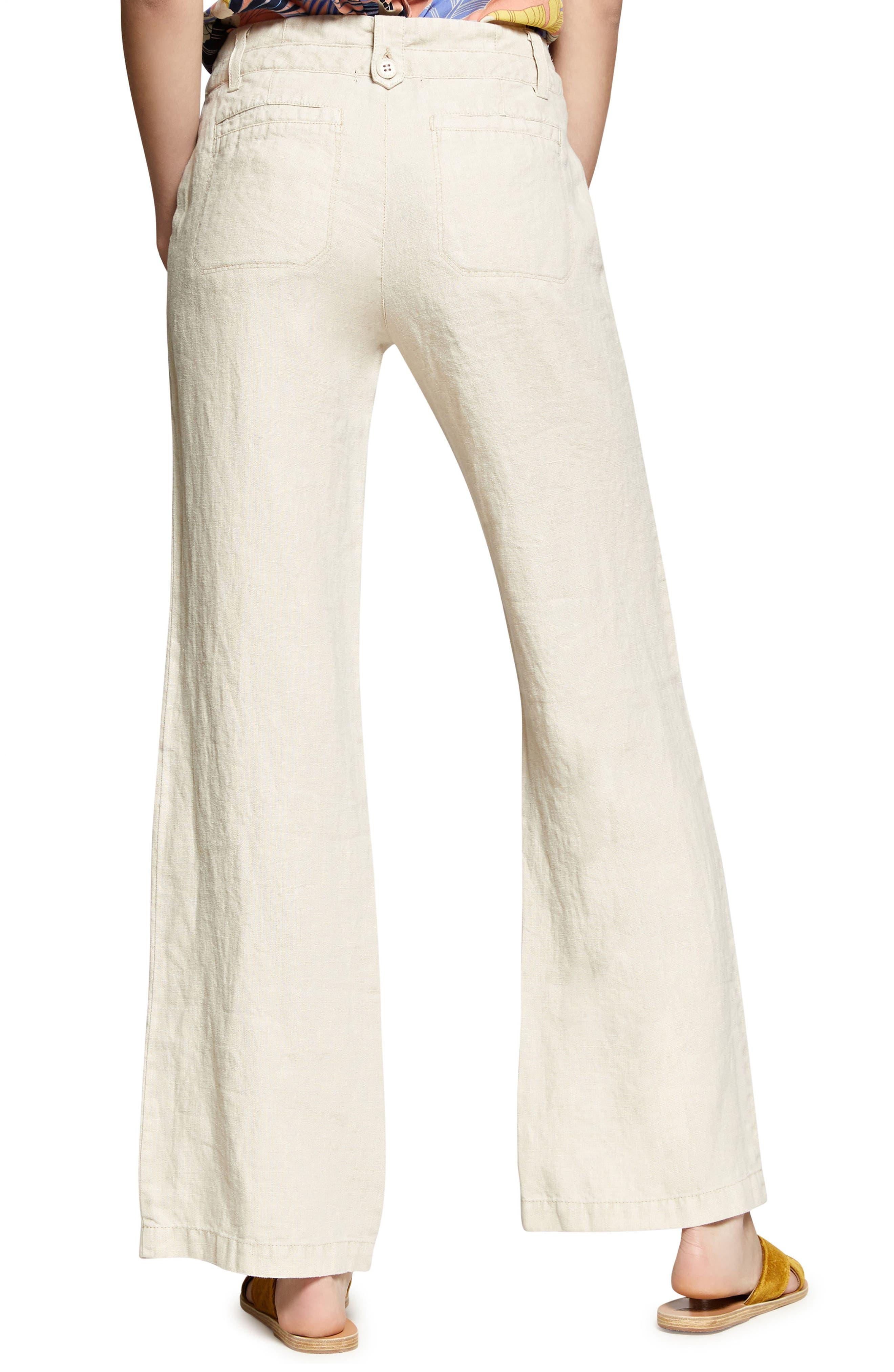 Shore Line Wide Leg Linen Pants,                             Alternate thumbnail 2, color,                             Desert Sand