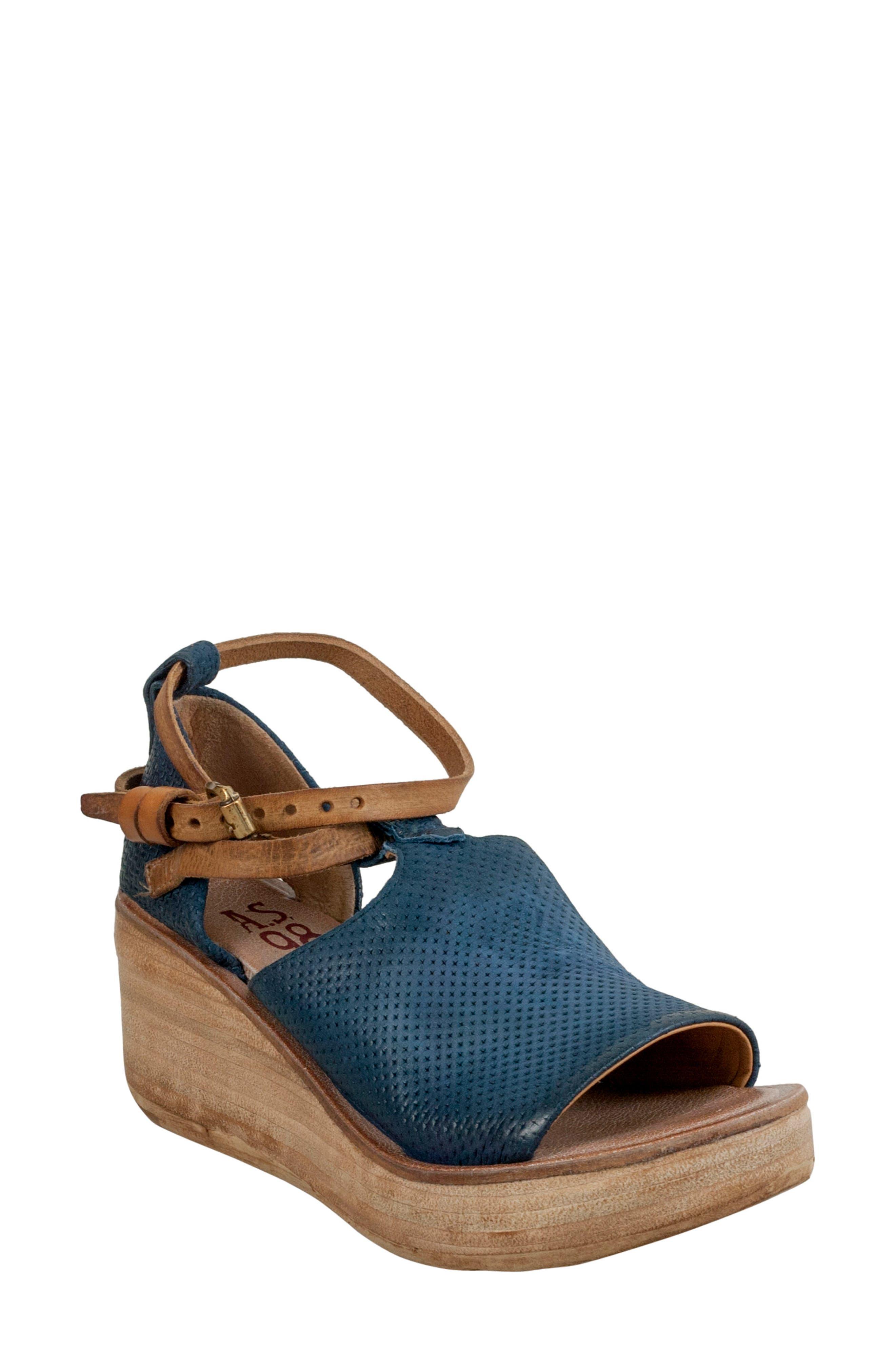A.S.98 Nino Wedge Sandal, Blueberry