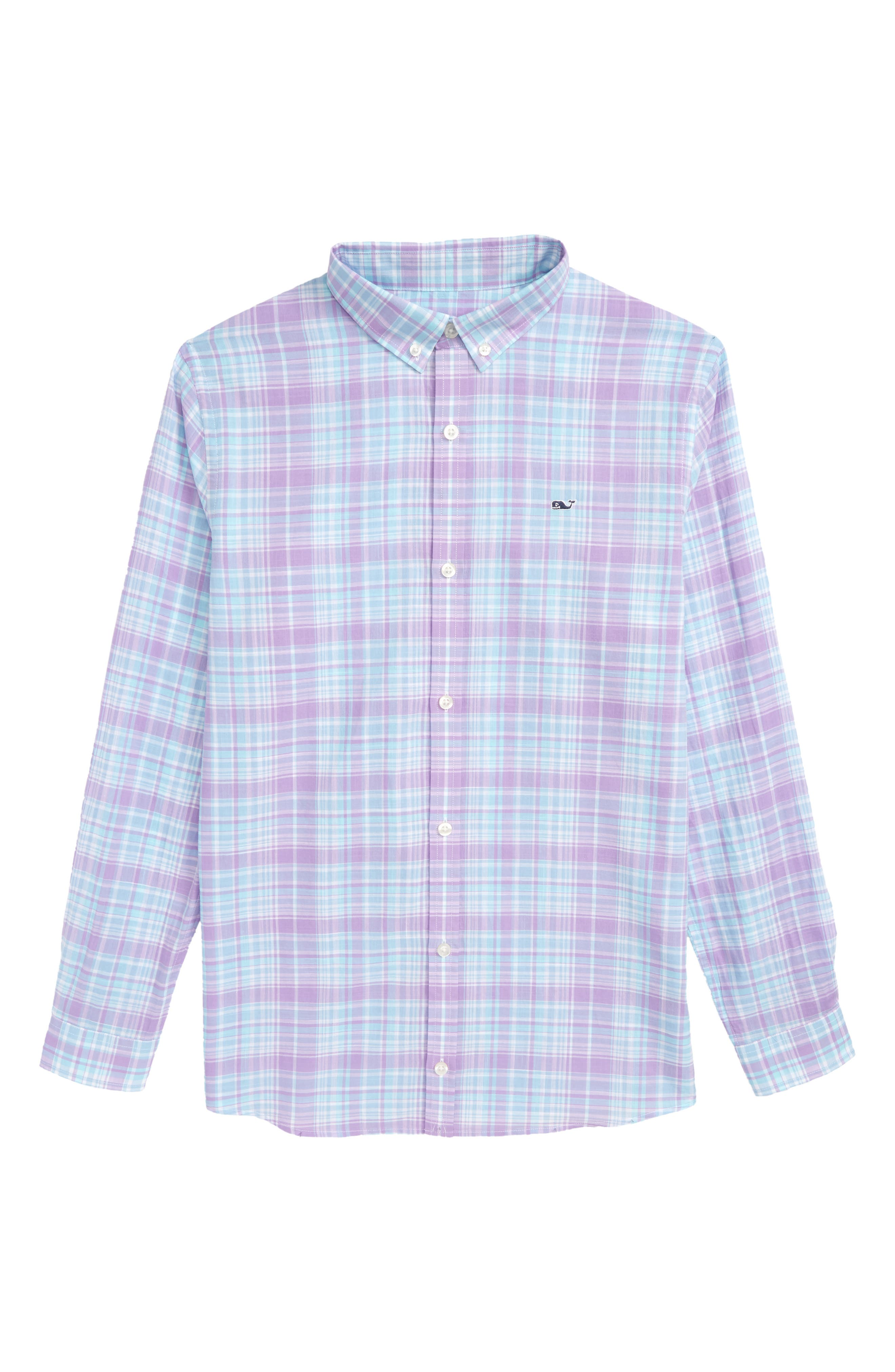 New Prov Beach Plaid Woven Shirt,                         Main,                         color, Sea Urchin
