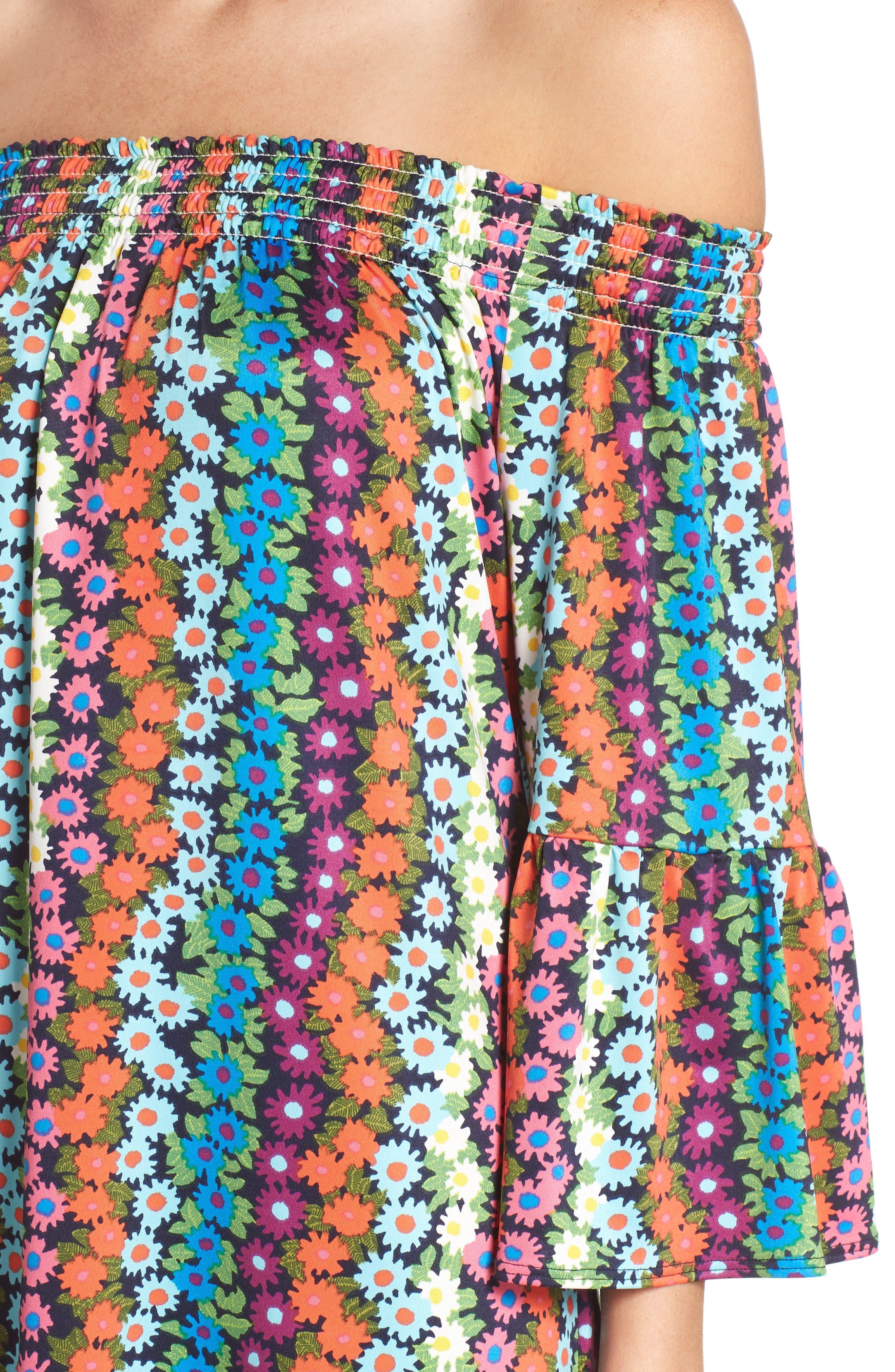 Trina Turk Off the Shoulder Bell Sleeve Dress,                             Alternate thumbnail 4, color,                             Multi