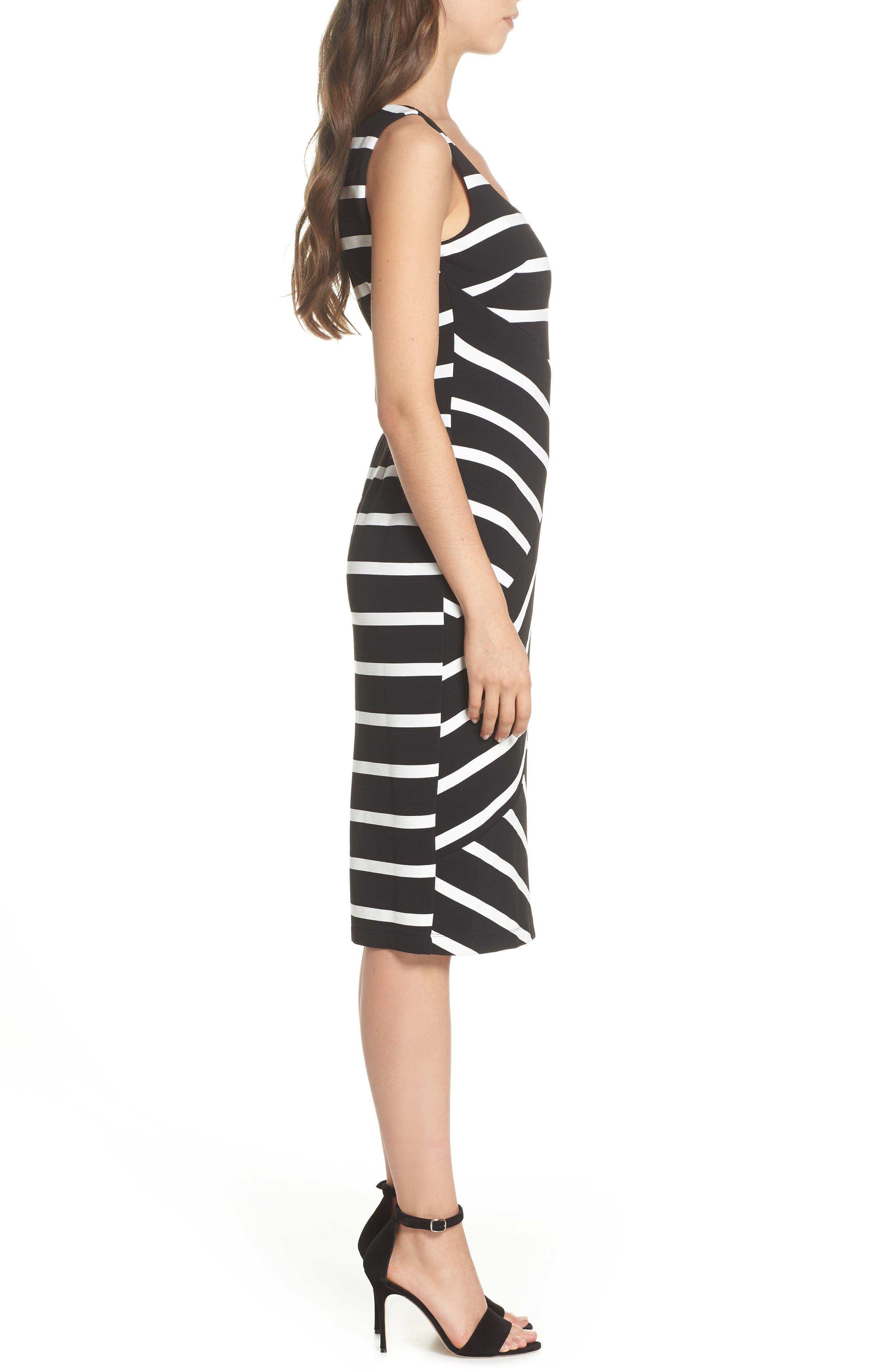 Stripe Ottoman Sheath Dress,                             Alternate thumbnail 3, color,                             Black/ Ivory