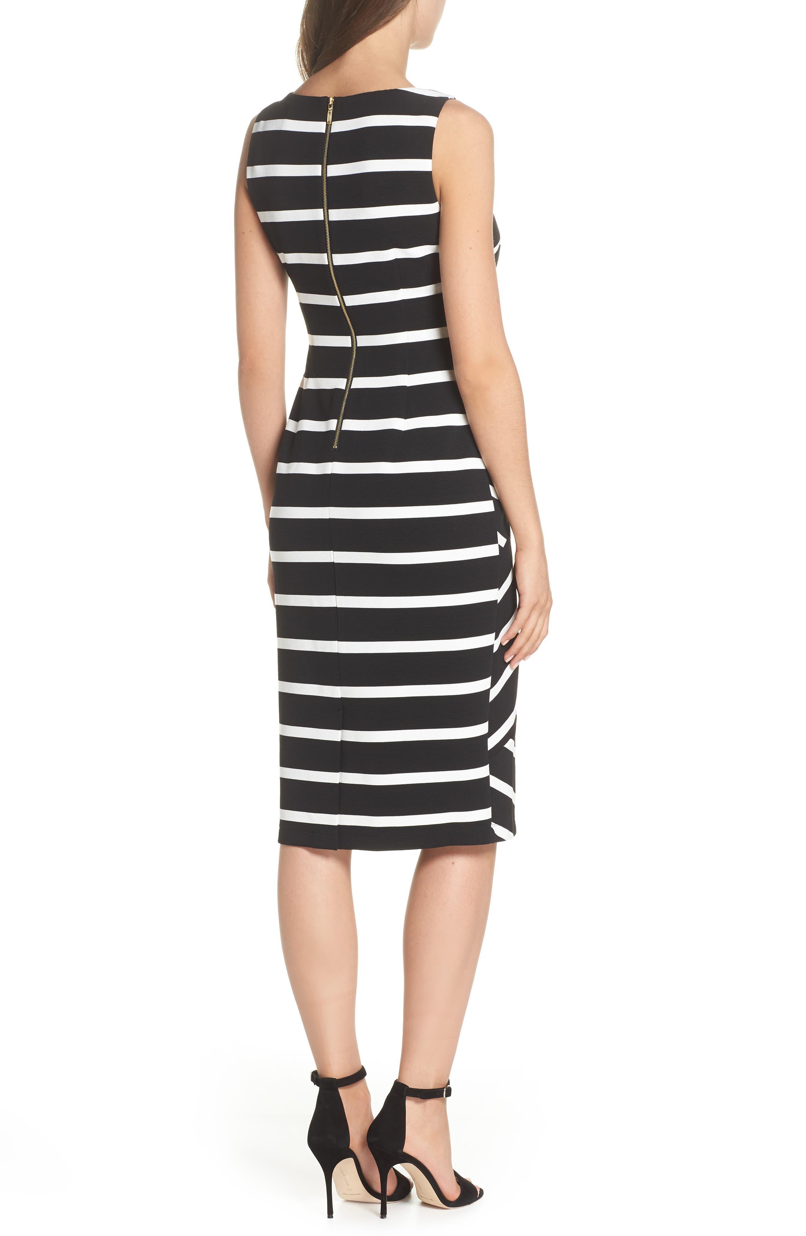 Stripe Ottoman Sheath Dress,                             Alternate thumbnail 2, color,                             Black/ Ivory