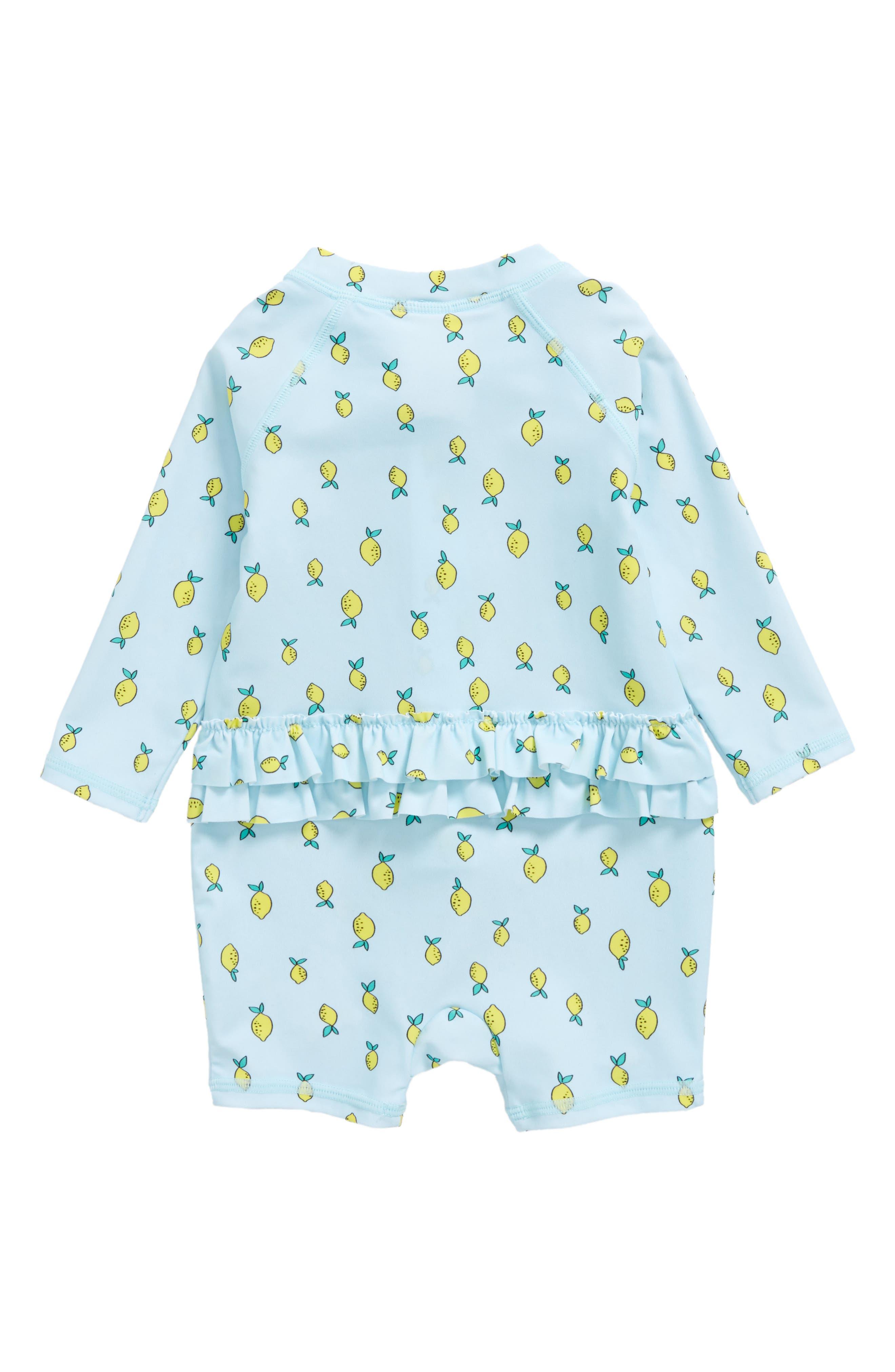 Lemon Print One-Piece Rashguard Swimsuit,                             Alternate thumbnail 2, color,                             Blue Glow Lemons