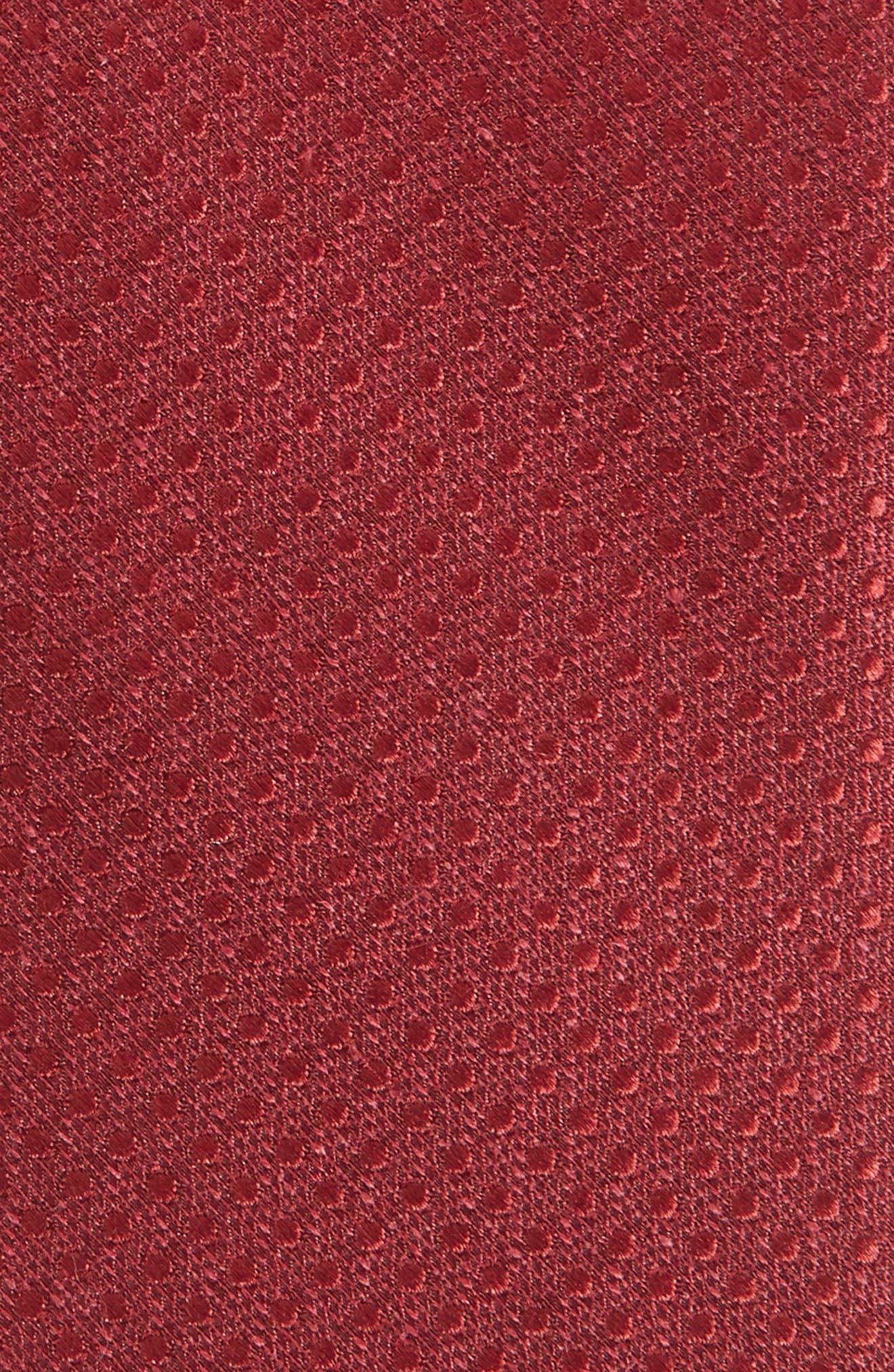 Spin Dot Silk & Cotton Tie,                             Alternate thumbnail 2, color,                             Burgundy