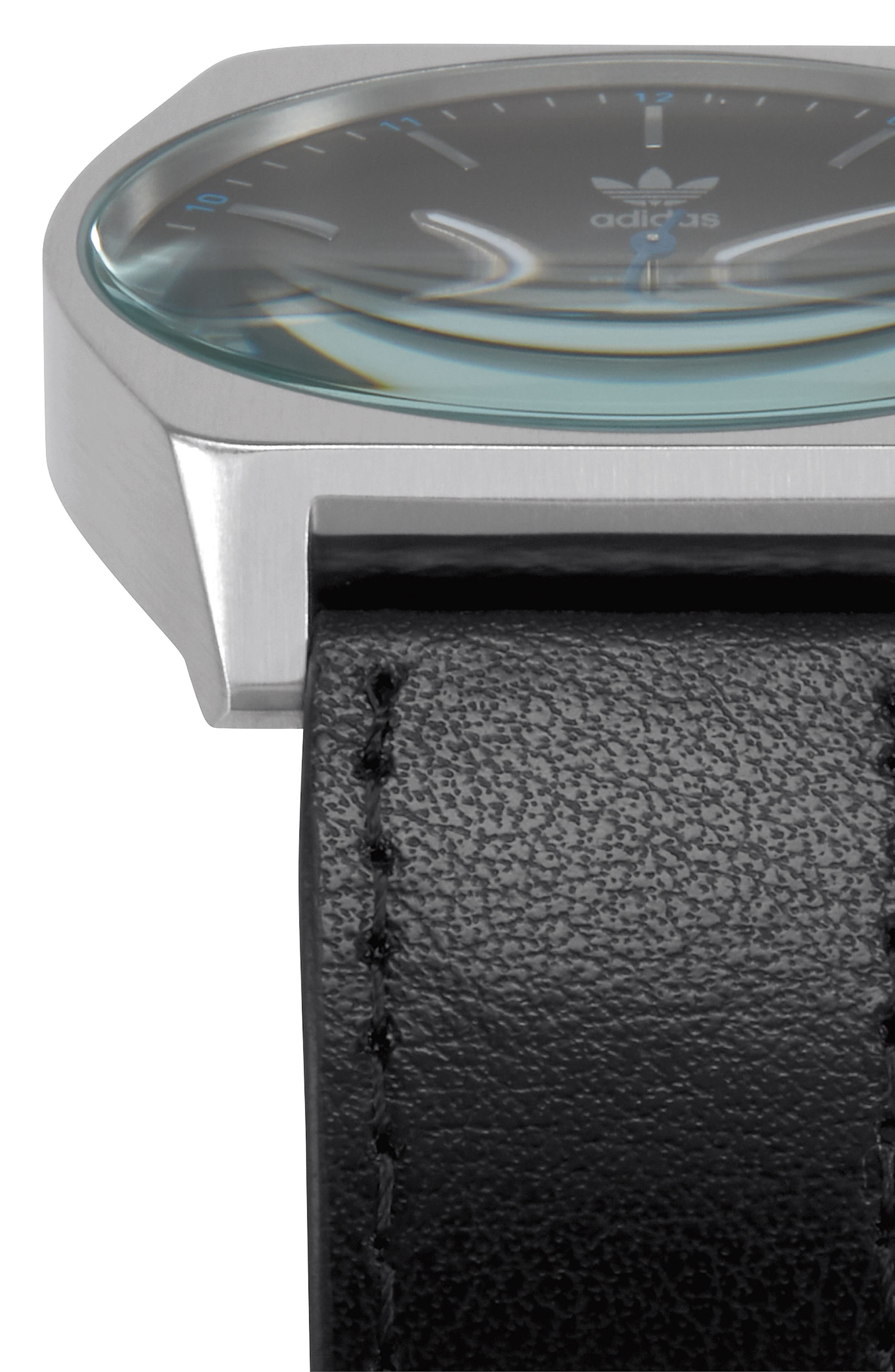 Process Leather Strap Watch, 38mm,                             Alternate thumbnail 5, color,                             Silver/ Black