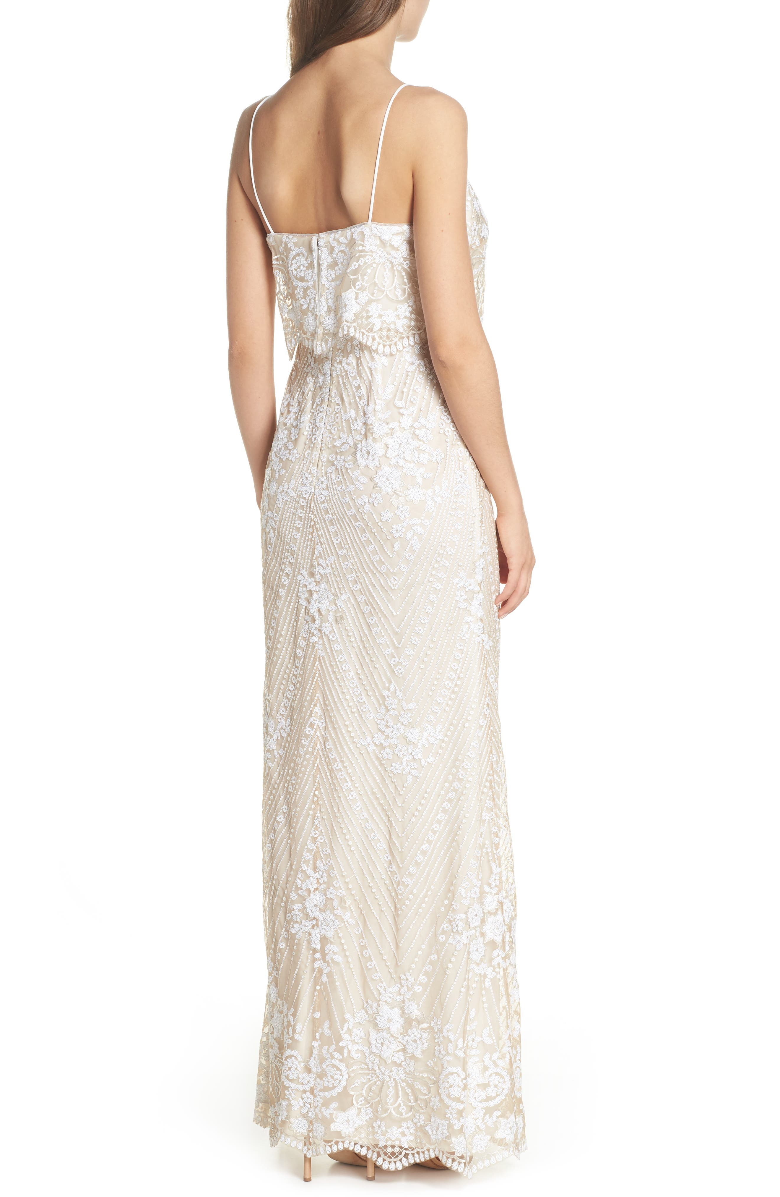 Sequin Popover Mermaid Gown,                             Alternate thumbnail 2, color,                             Pearl