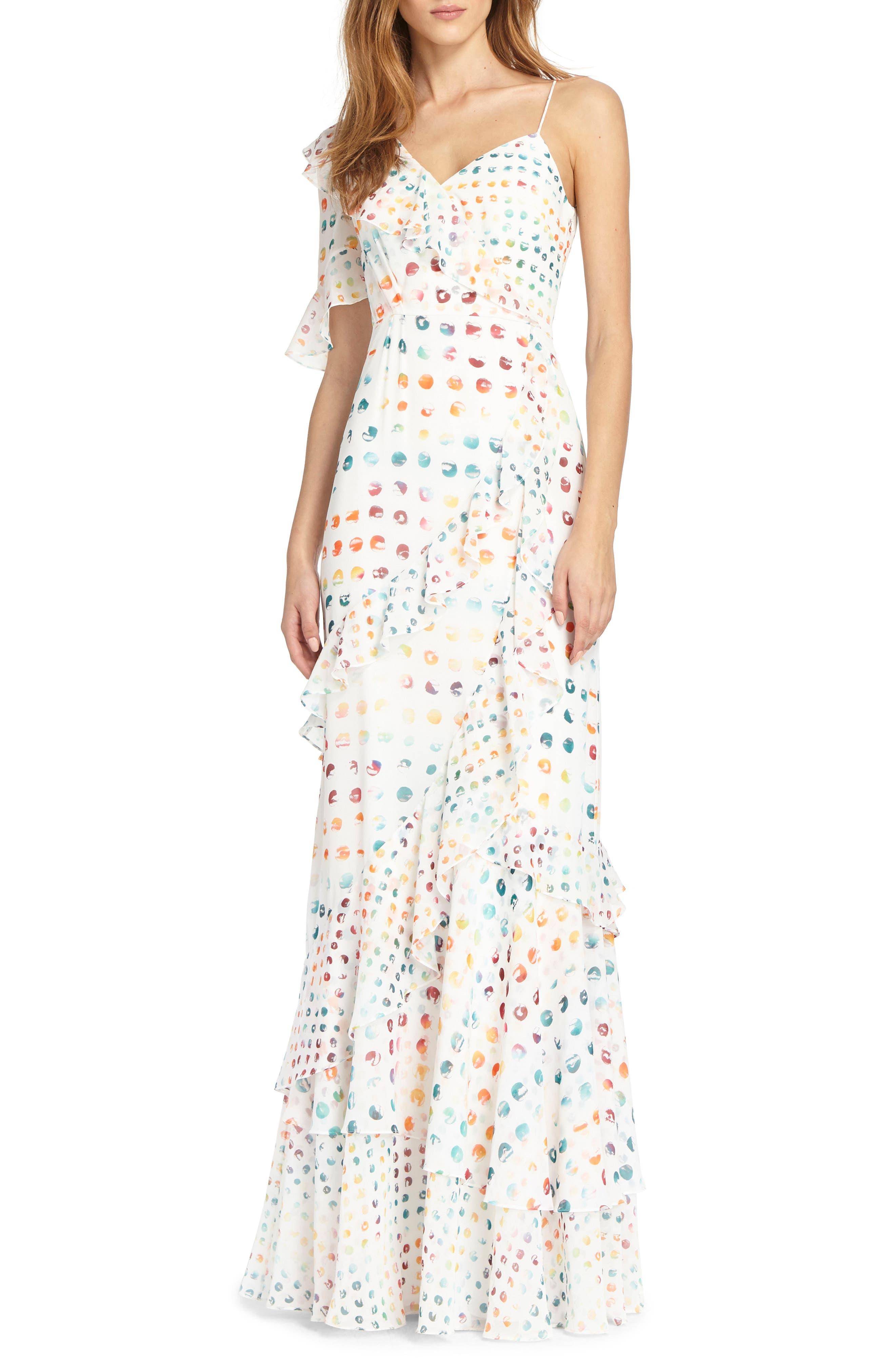 ML Monique Lhuillier Asymmetrical Ruffle Gown