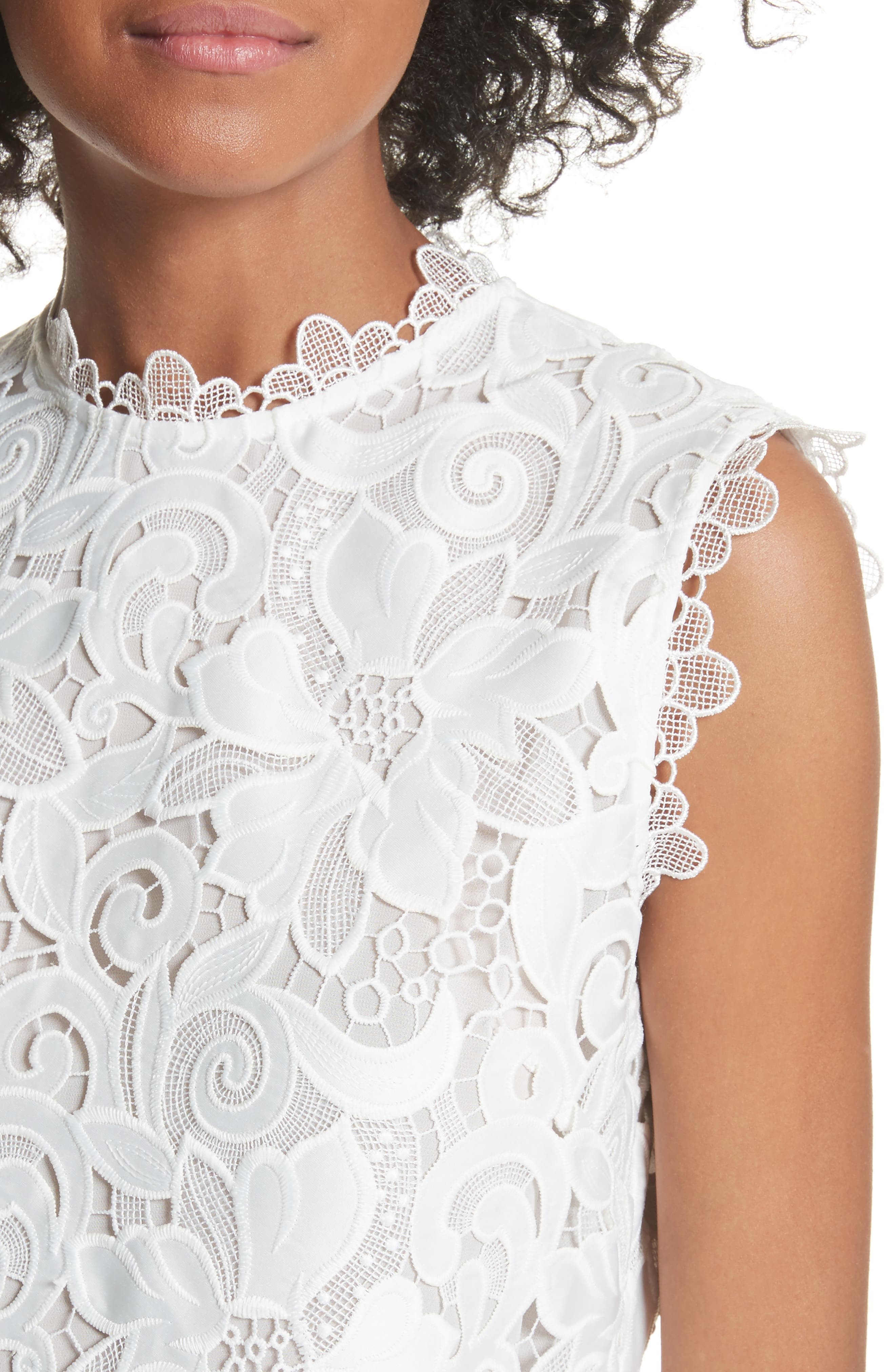 Scalloped Lace Top,                             Alternate thumbnail 4, color,                             Natural
