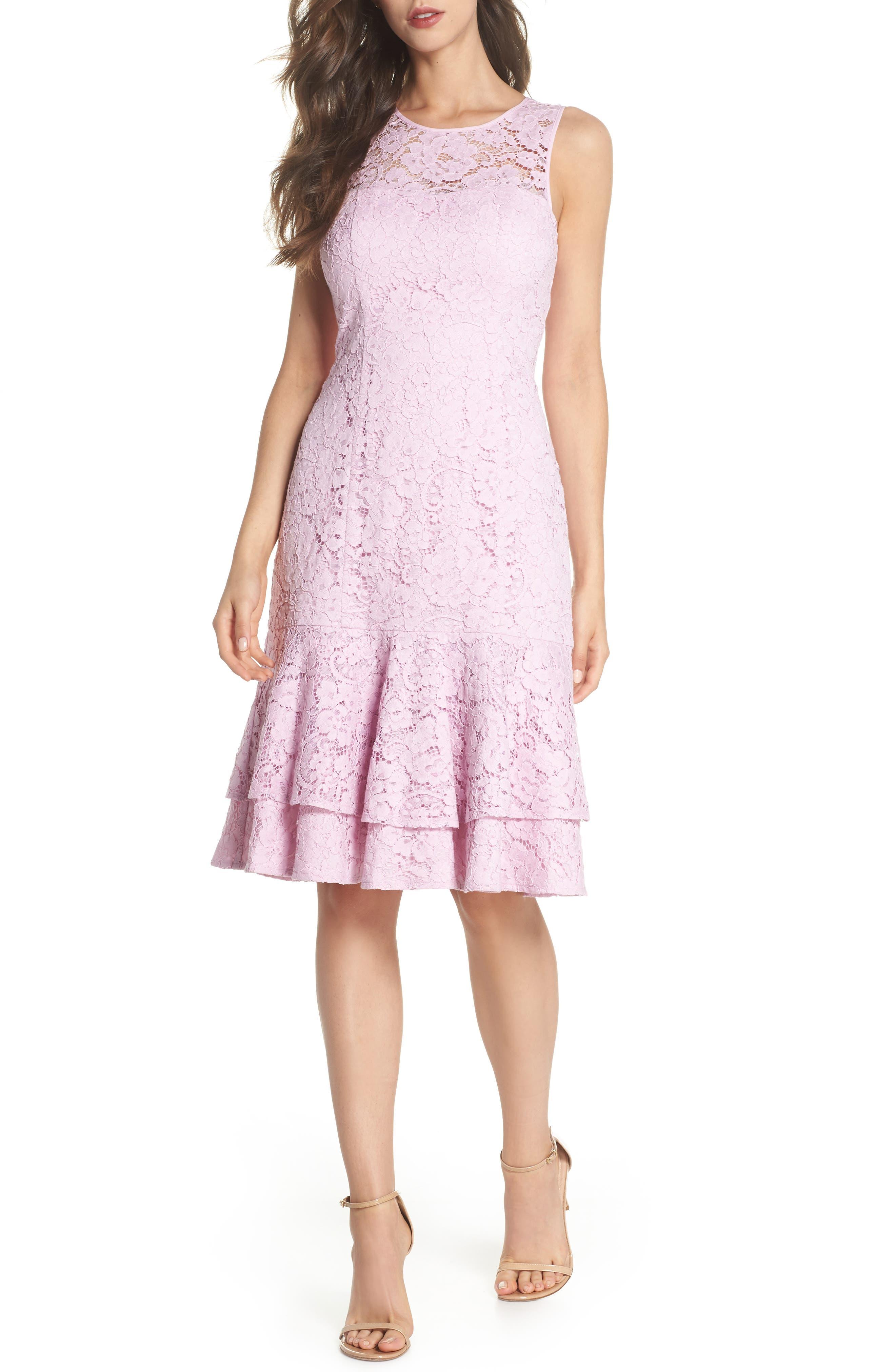 Flounce Hem Lace Dress,                         Main,                         color, Pink