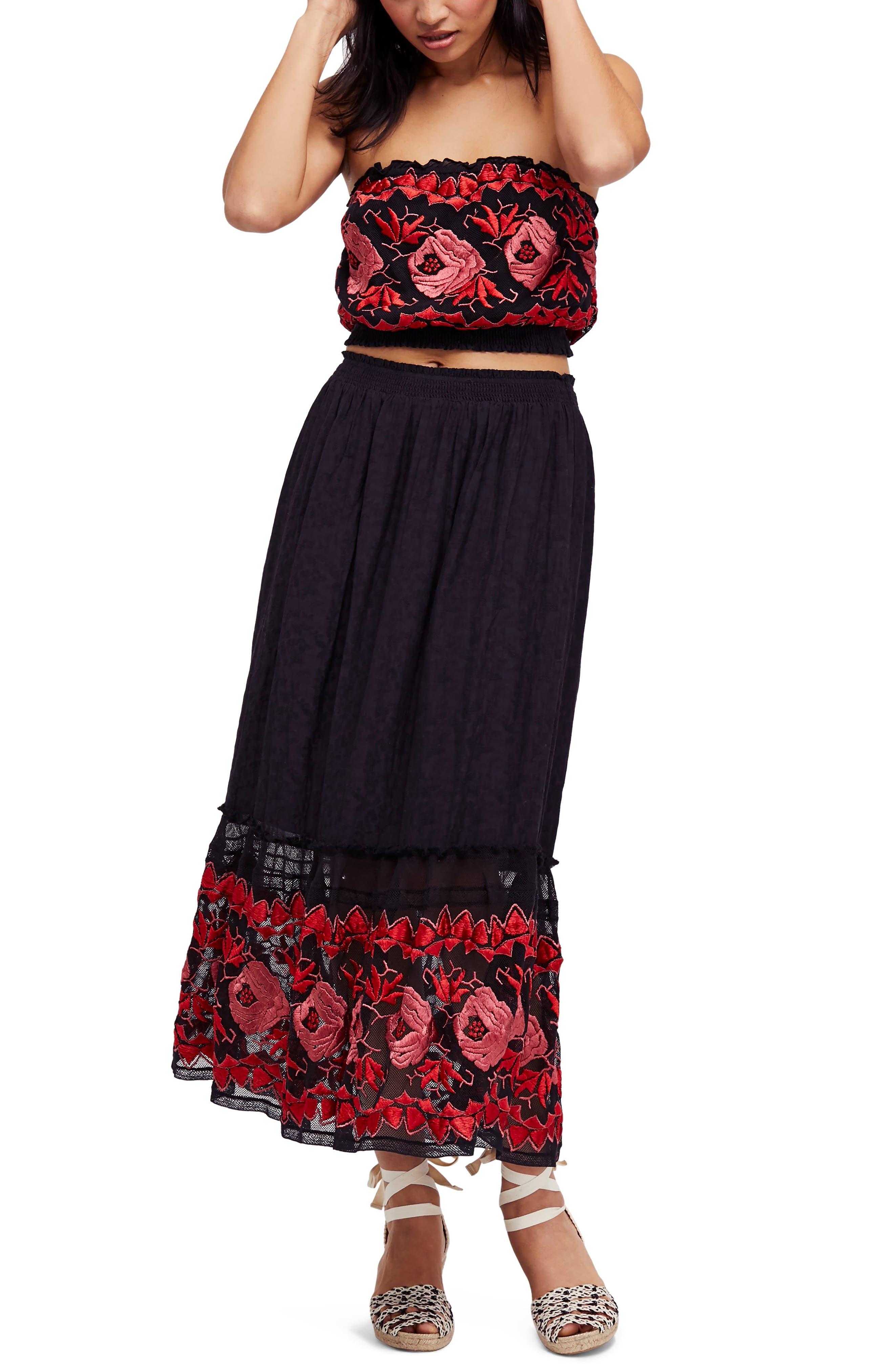 Rosebud Top & Skirt,                             Main thumbnail 1, color,                             Black Combo