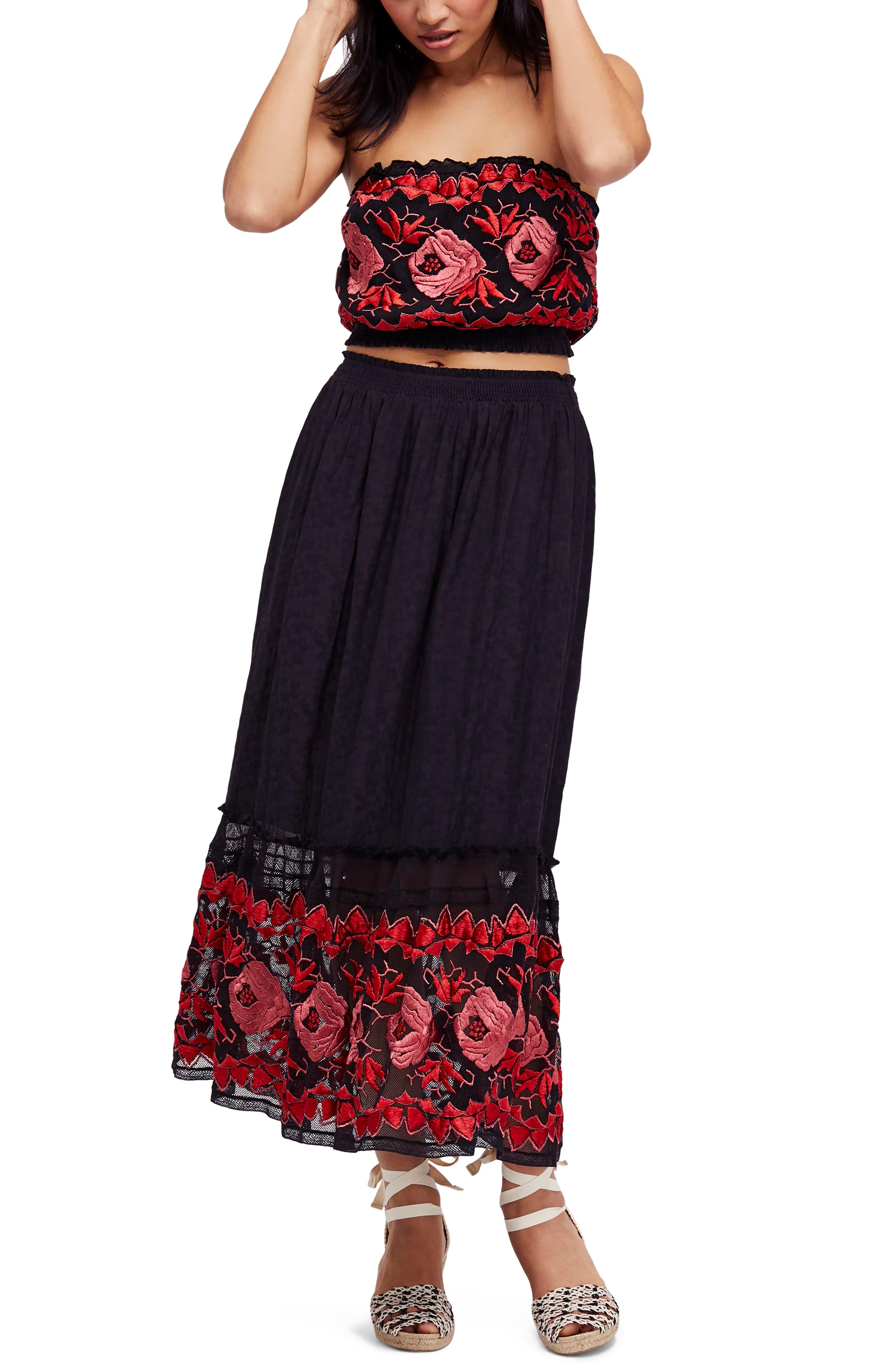 Rosebud Top & Skirt,                         Main,                         color, Black Combo