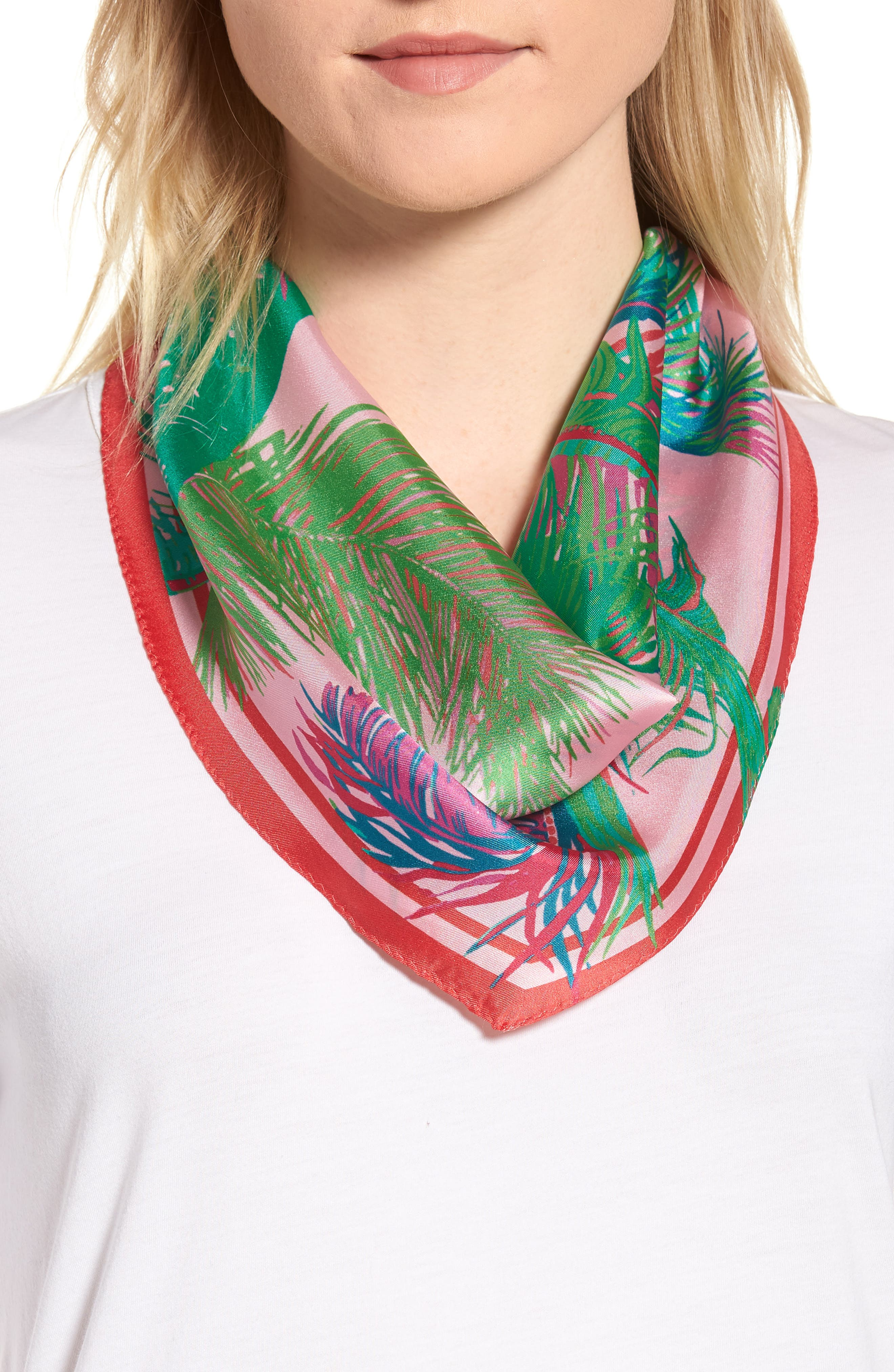 Tasman Palms Diamond Cut Silk Scarf,                             Main thumbnail 1, color,                             Pearl Pink