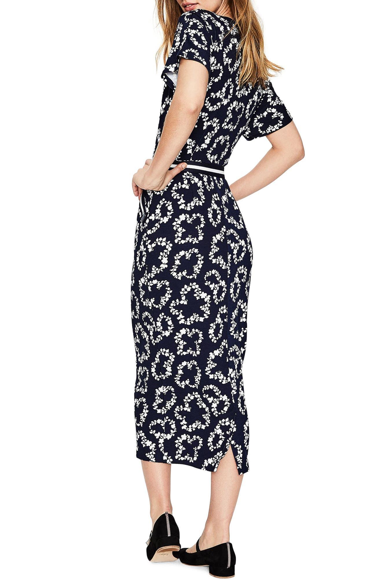 Fluted Sleeve Midi Dress,                             Alternate thumbnail 4, color,                             Navy Garland