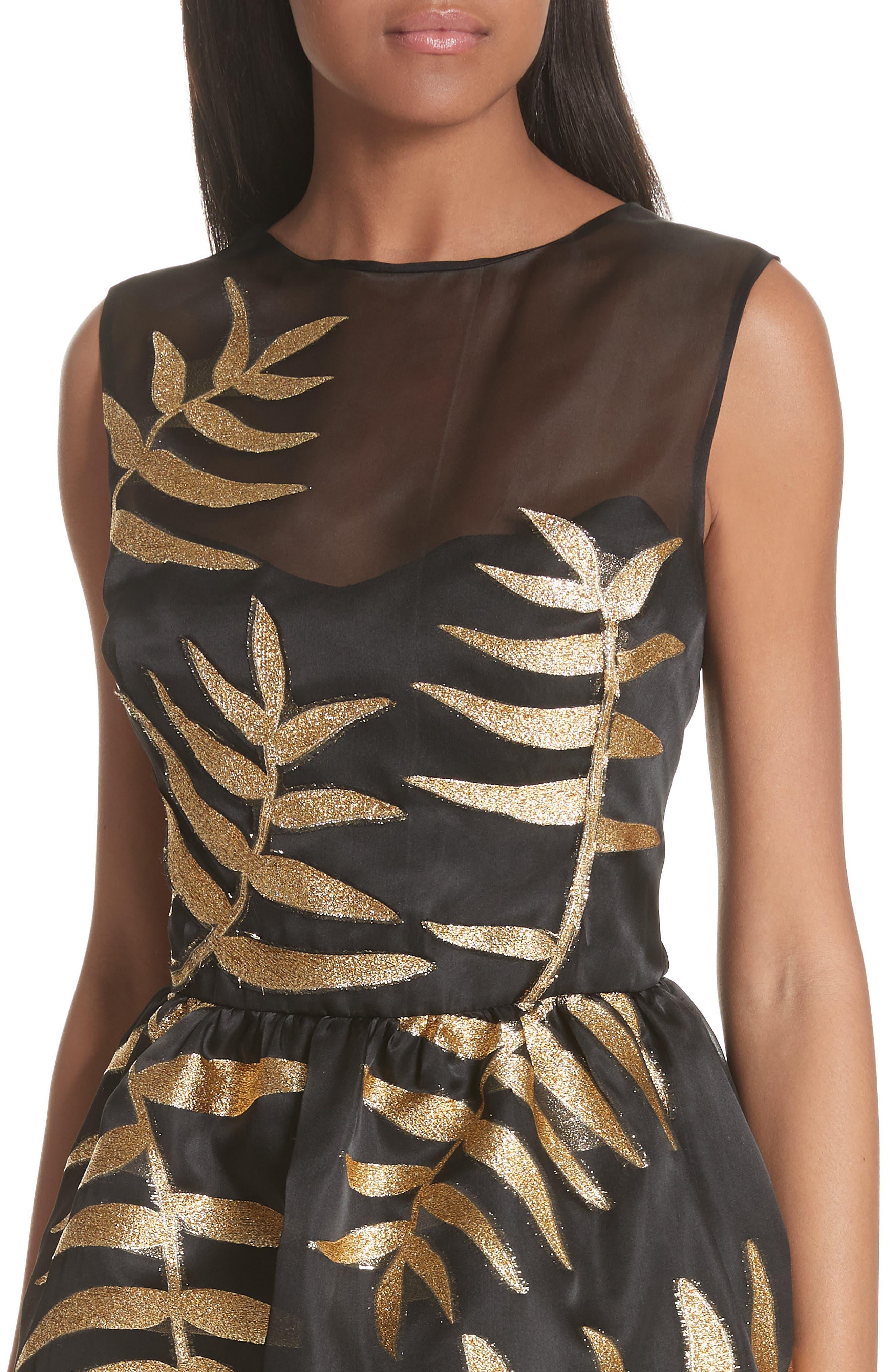 Alternate Image 4  - Oscar de la Renta Glitter Fil Coupé Dress