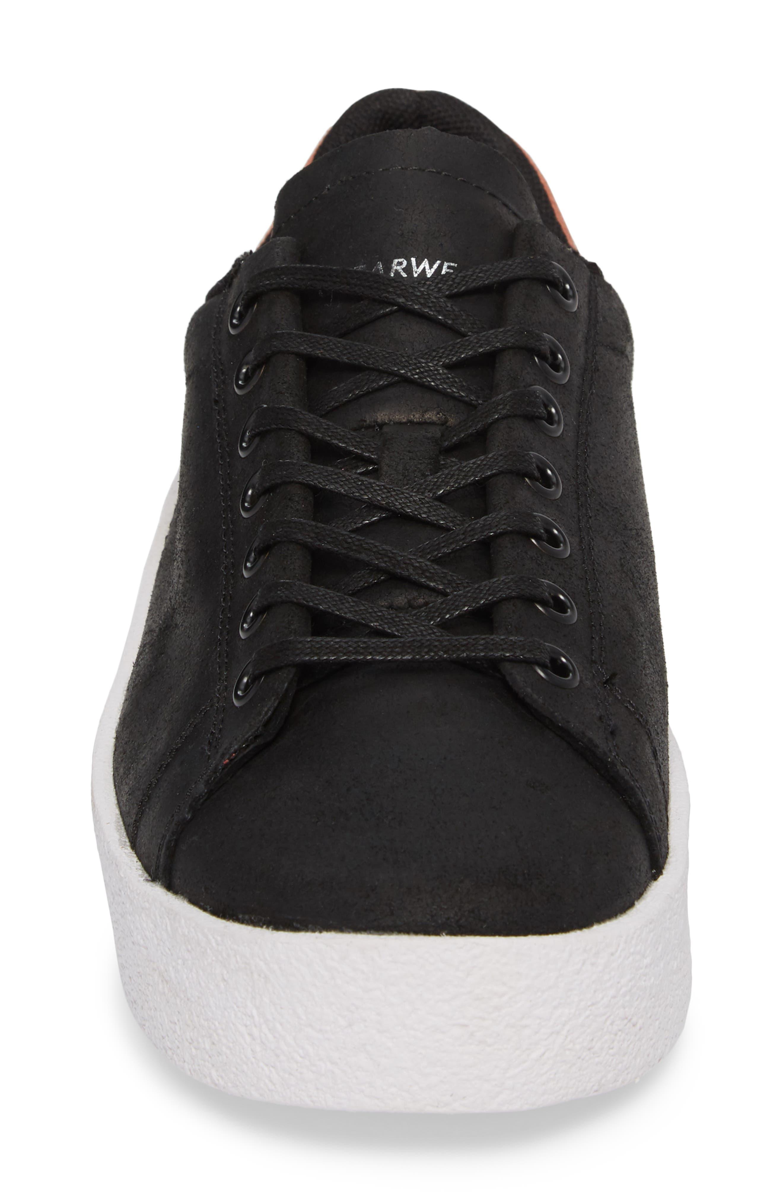 Jones Platform Sneaker,                             Alternate thumbnail 4, color,                             Black Leather