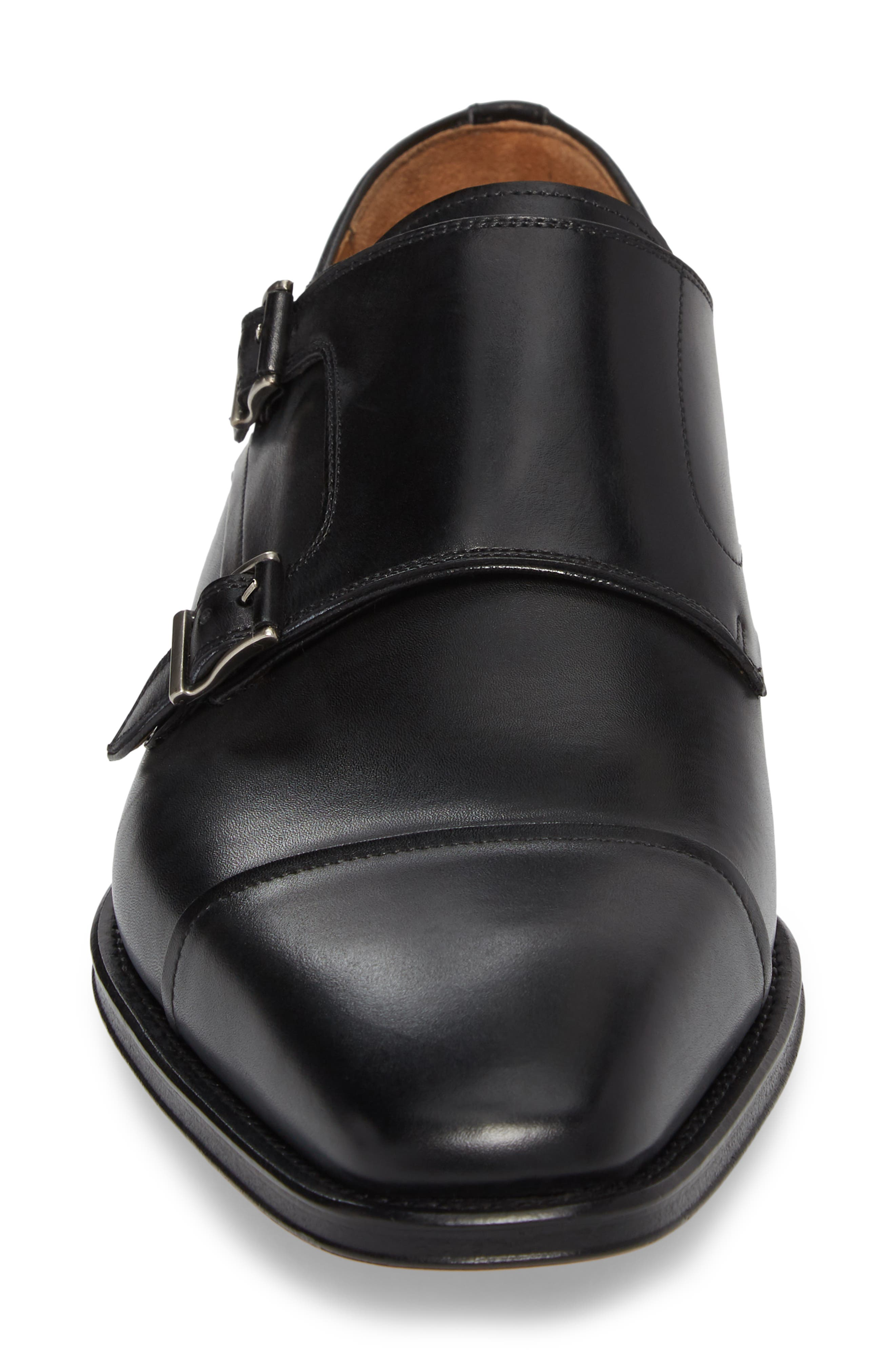 Silvio Double Monk Strap Shoe,                             Alternate thumbnail 4, color,                             Black Leather