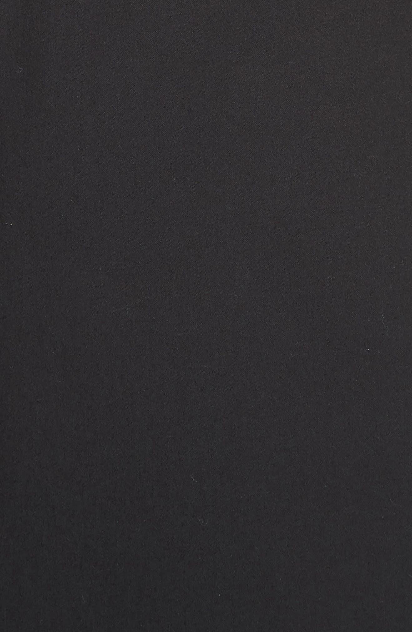 Patch Pocket Sateen Midi Dress,                             Alternate thumbnail 6, color,                             Black