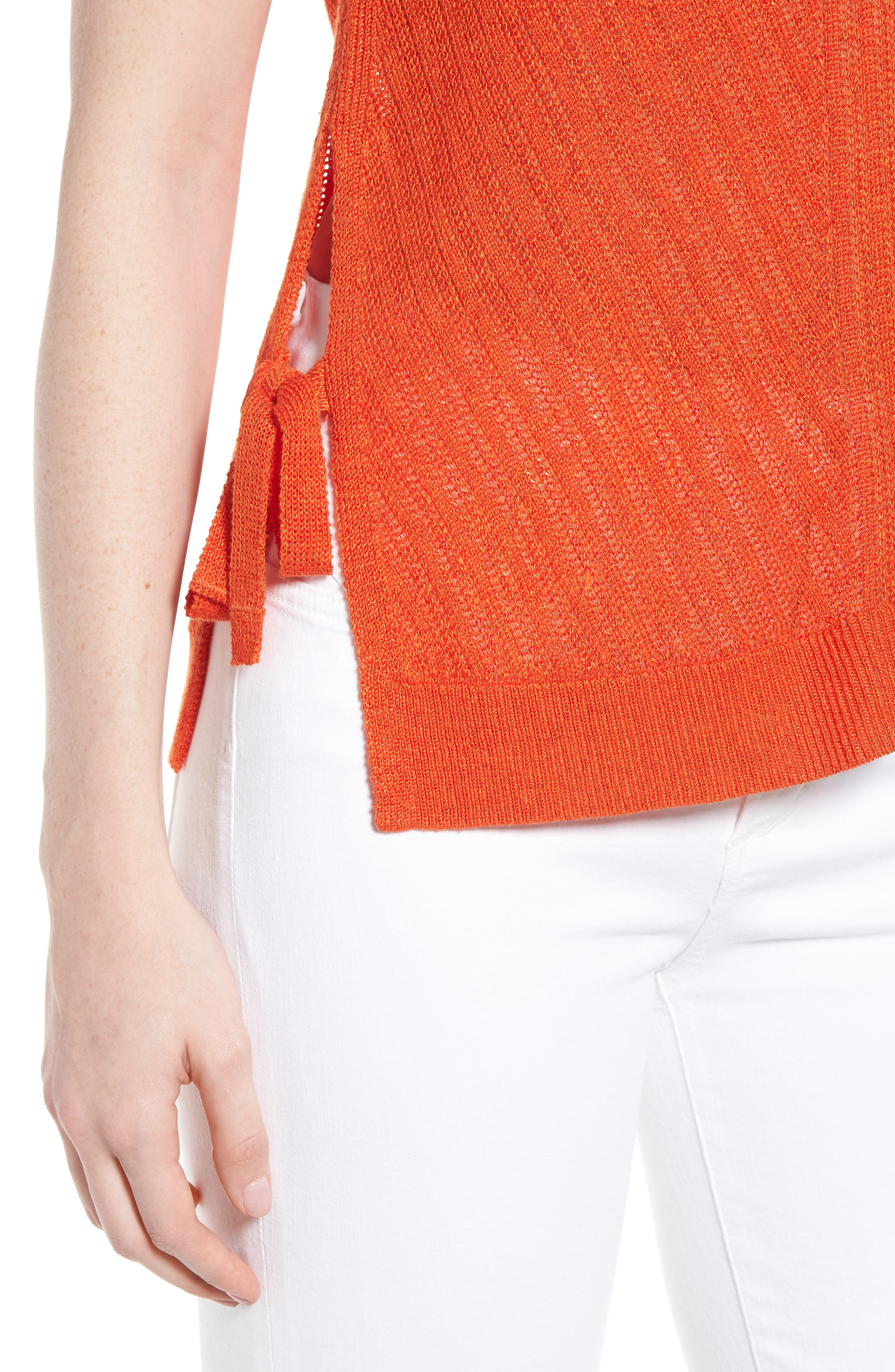 Side Tie Tank Sweater,                             Alternate thumbnail 4, color,                             Red Clay
