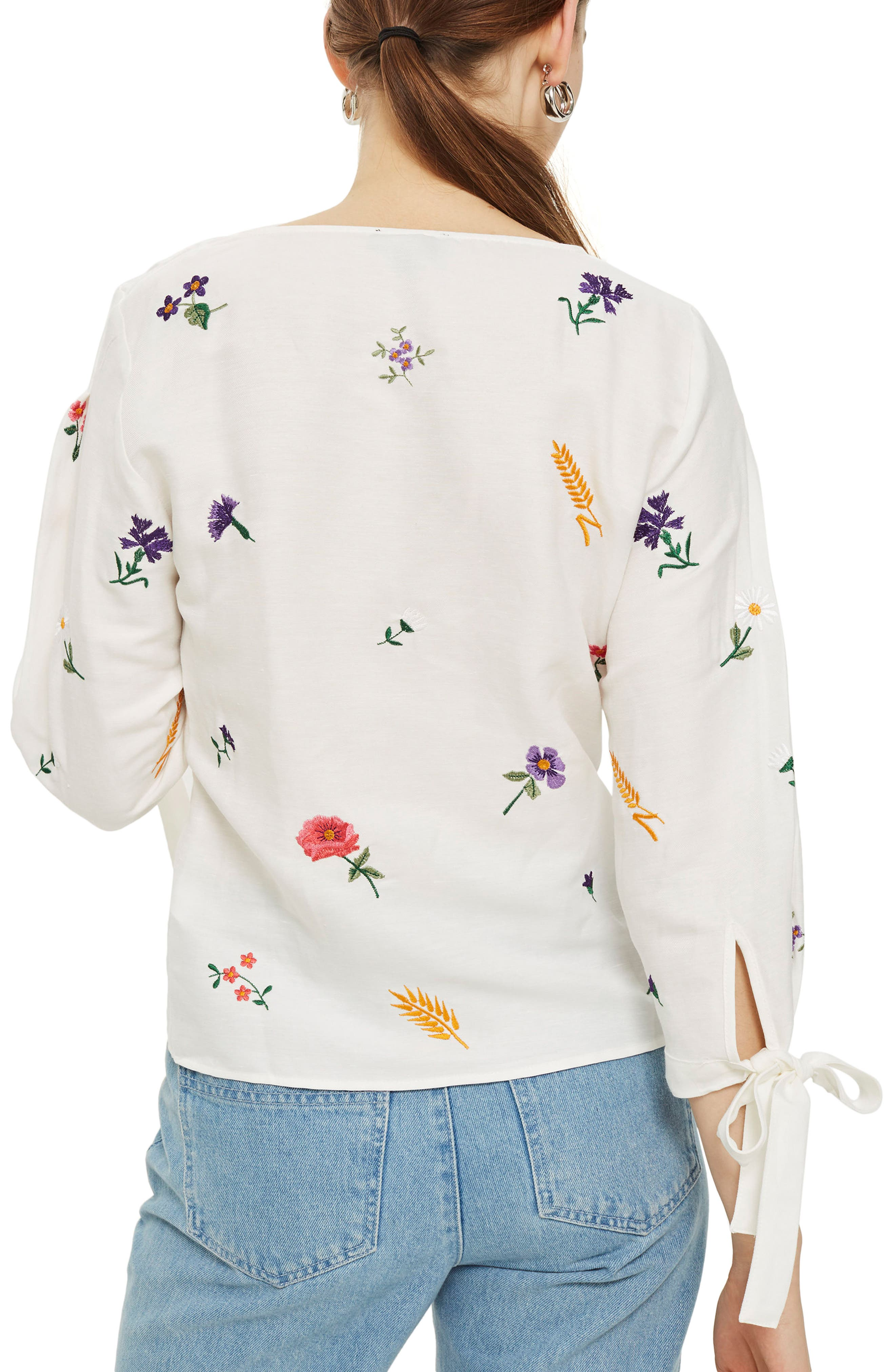 Field Embroidered Floral Blouse,                             Alternate thumbnail 2, color,                             Ivory