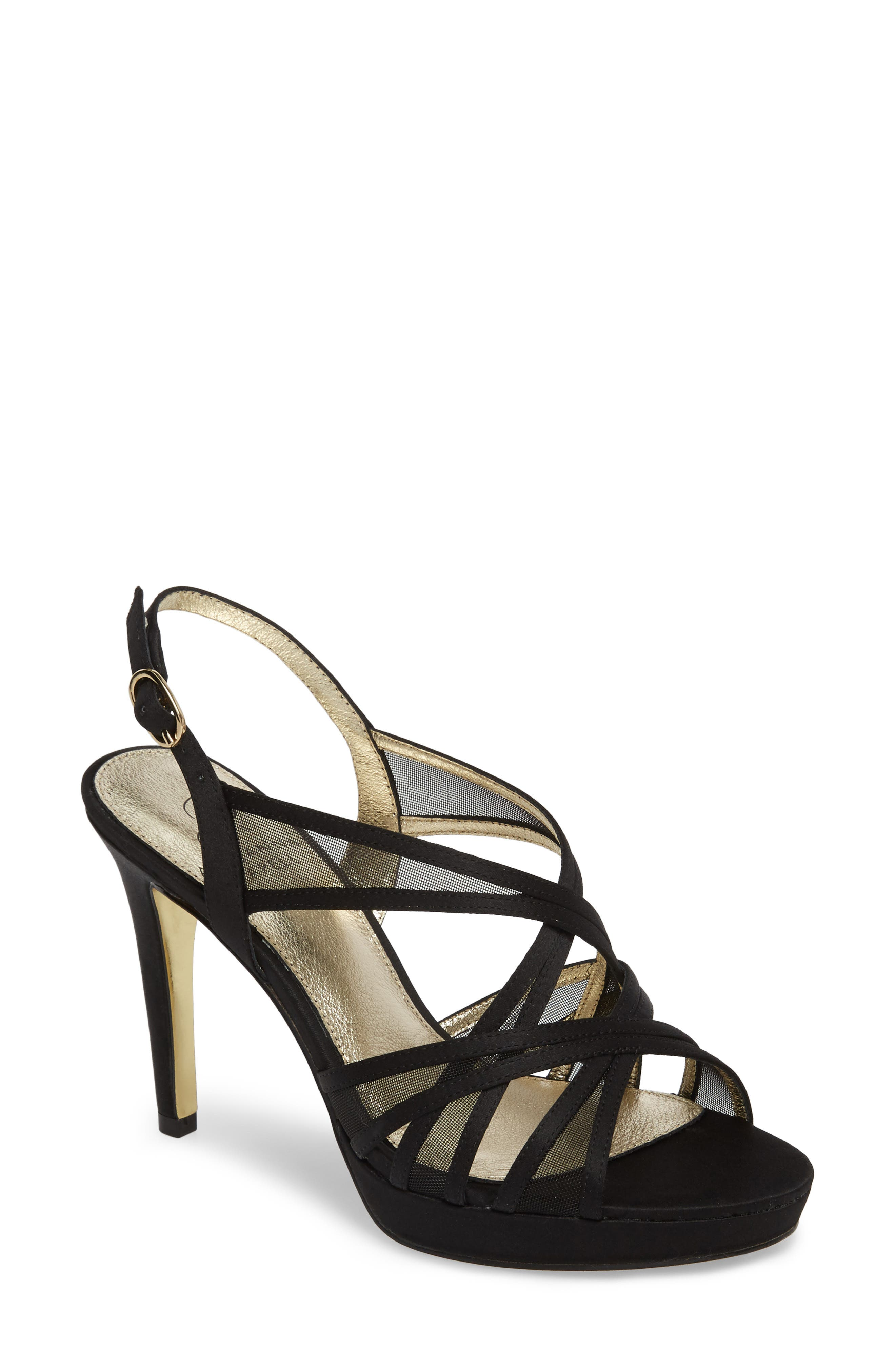 Adri Platform Sandal,                         Main,                         color, Black Satin