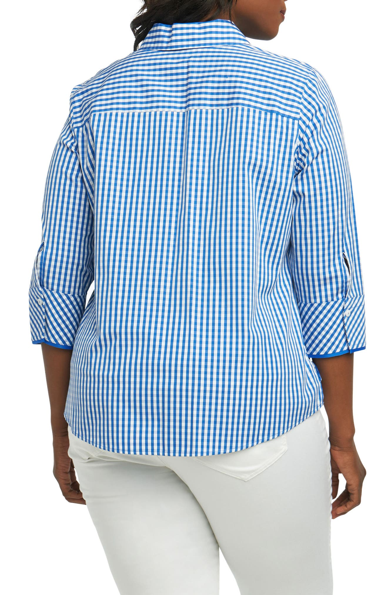 Mary Gingham Wrinkle Free Shirt,                             Alternate thumbnail 2, color,                             Lapis Blue