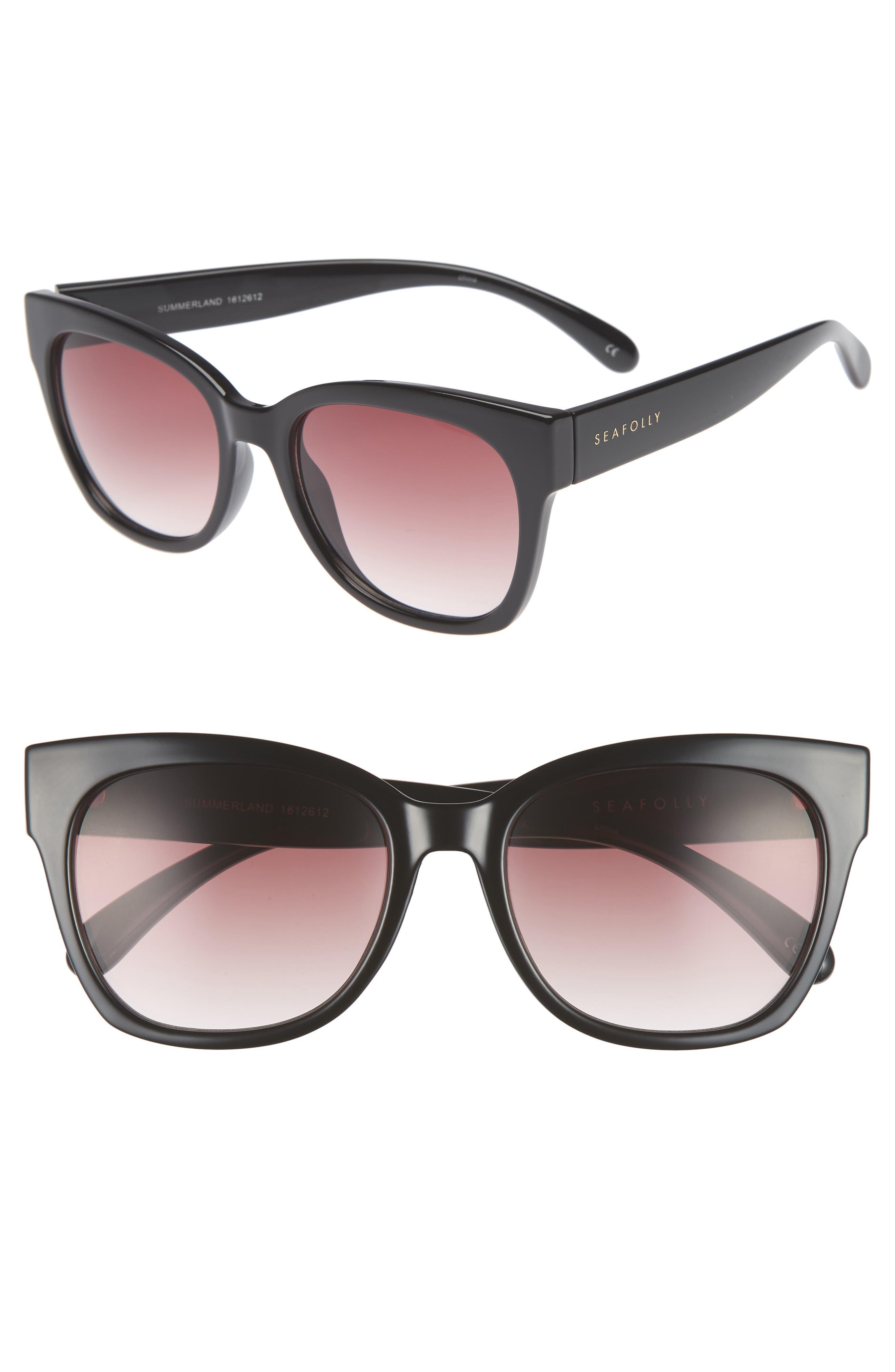 Summerland 55mm Cat Eye Sunglasses,                         Main,                         color, Black