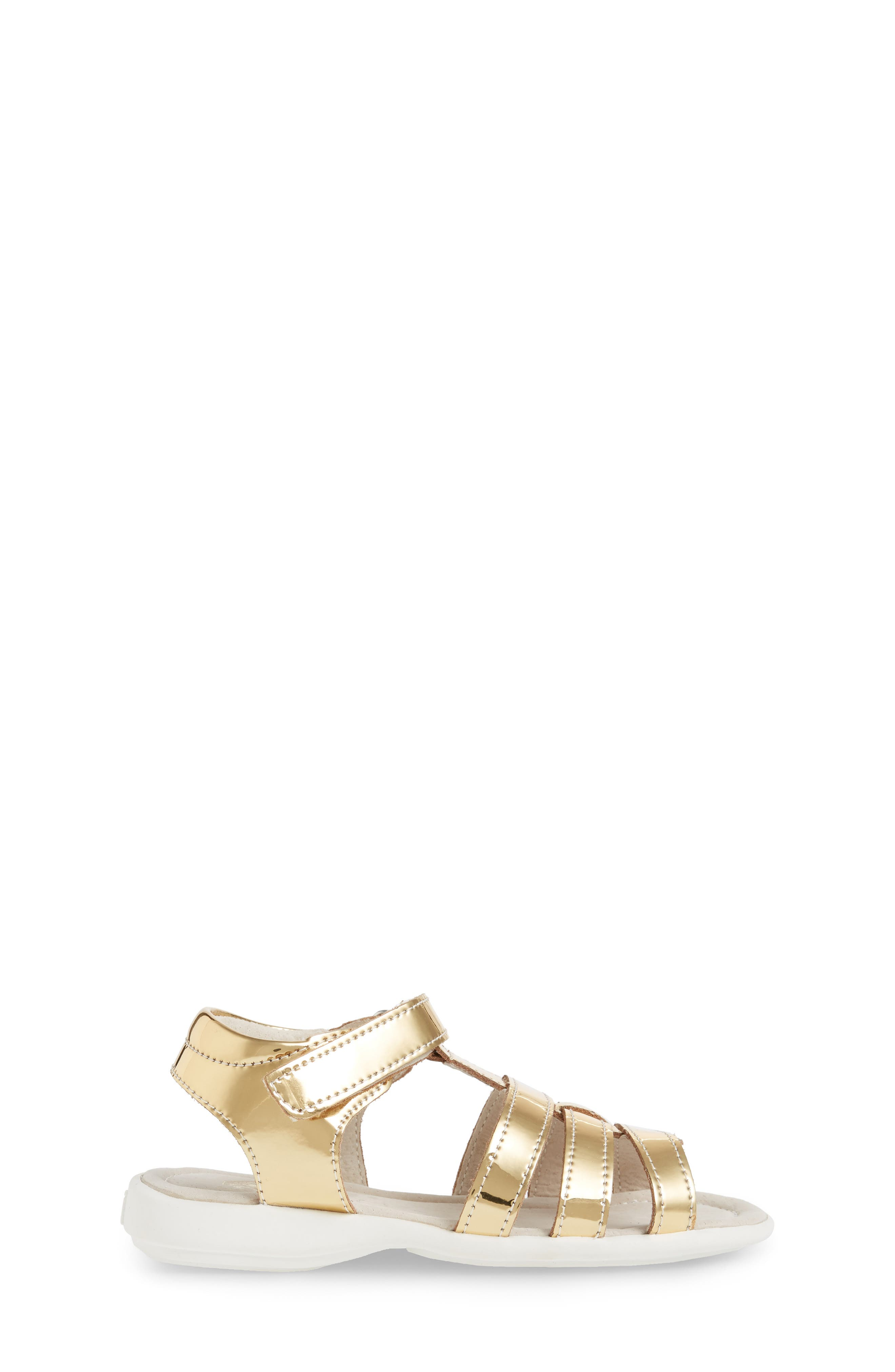 Fe Metallic Fisherman Sandal,                             Alternate thumbnail 3, color,                             Gold
