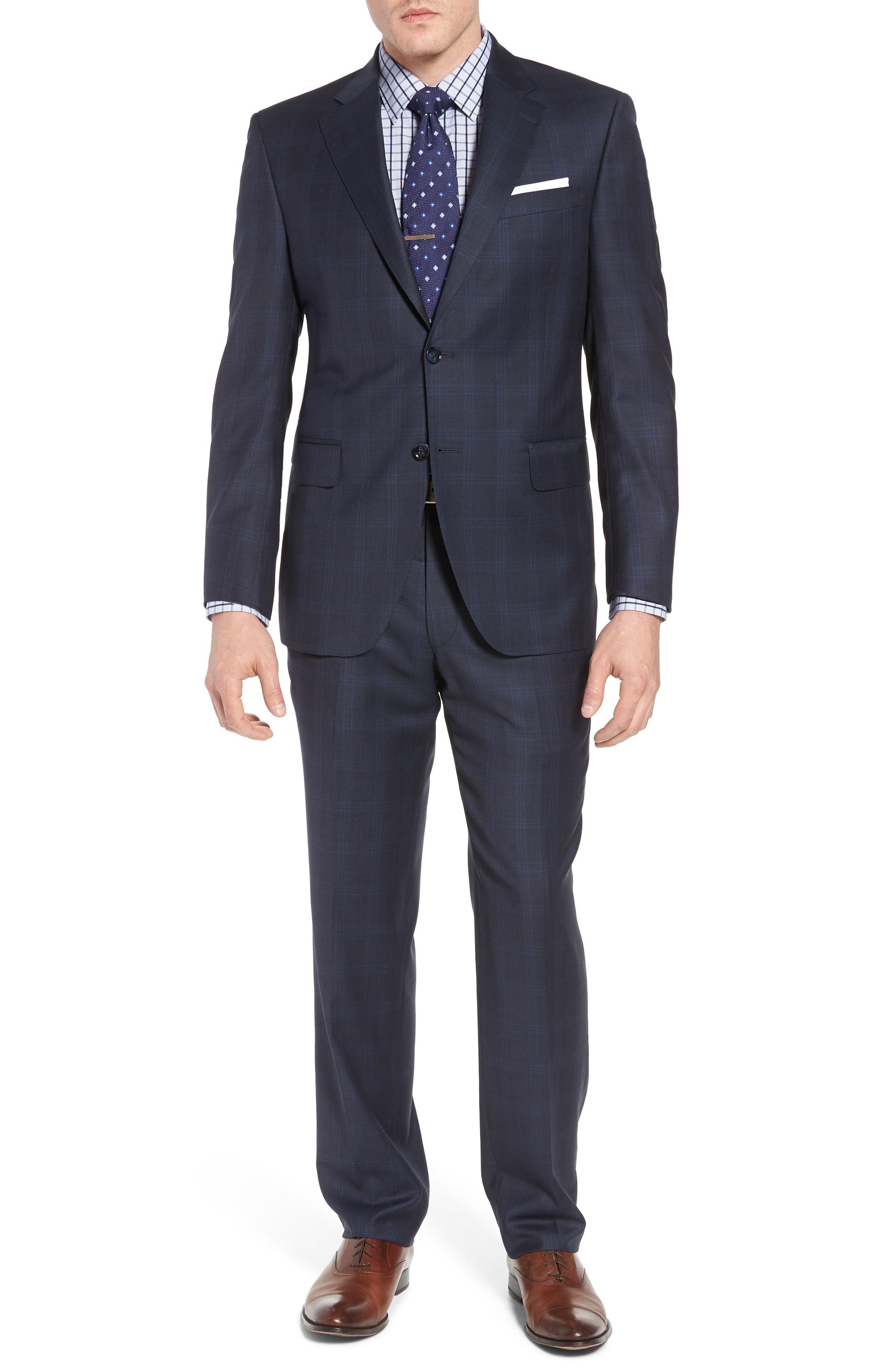 Classic Fit Plaid Wool Suit,                         Main,                         color, Navy