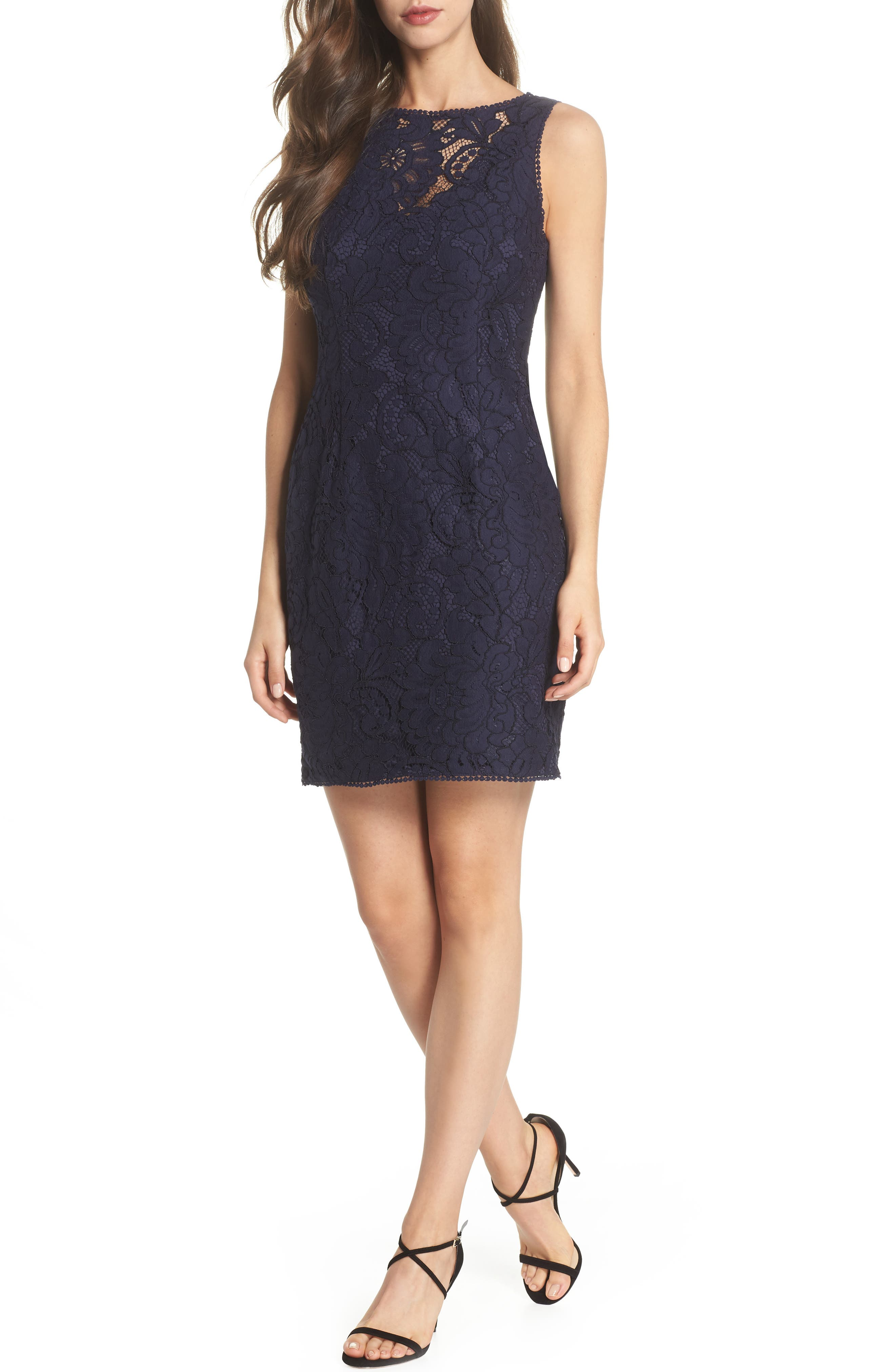Lace Sheath Dress,                             Main thumbnail 1, color,                             Navy
