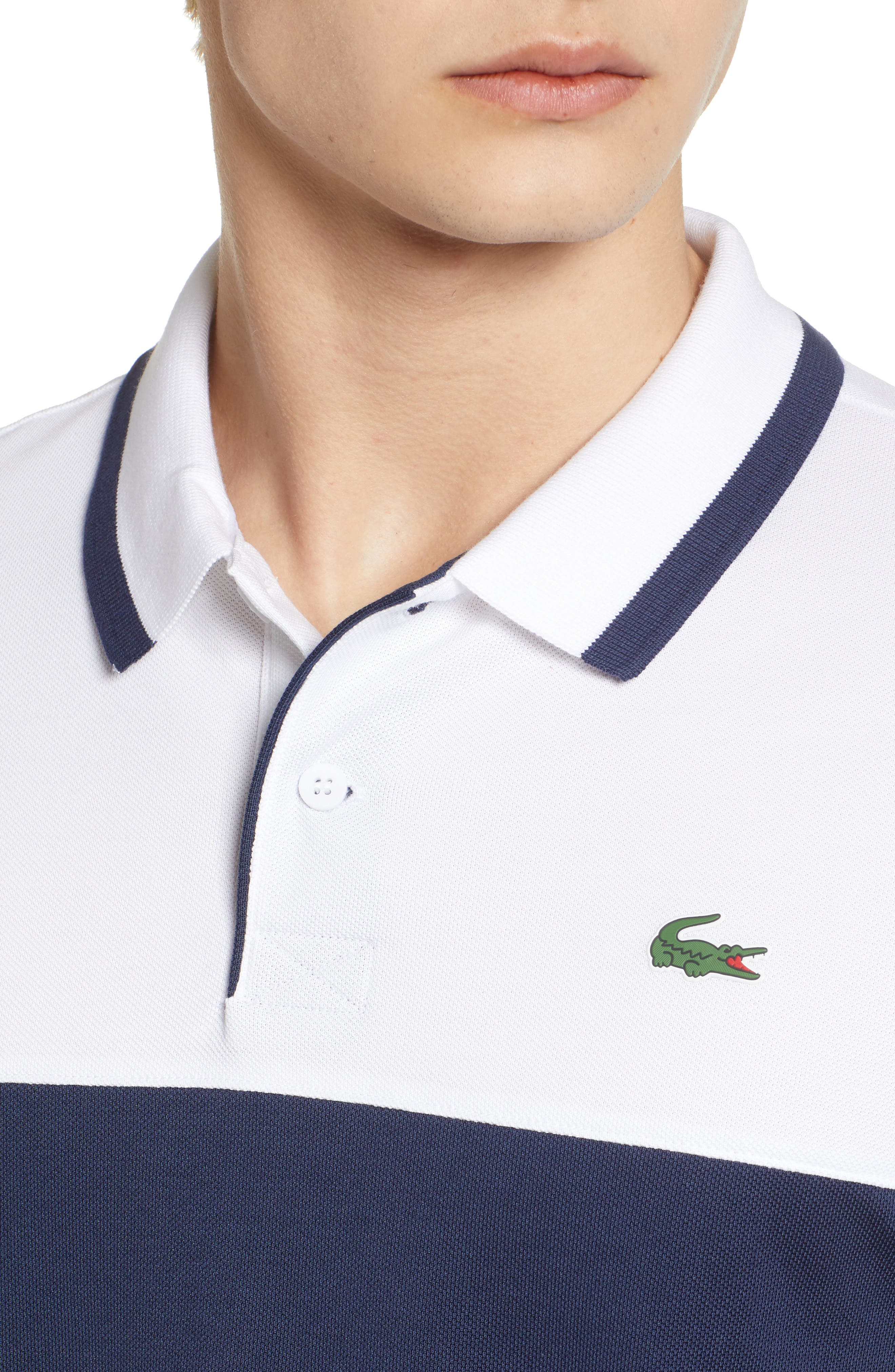 Piqué Cotton Blend Polo,                             Alternate thumbnail 4, color,                             White/ Navy Blue